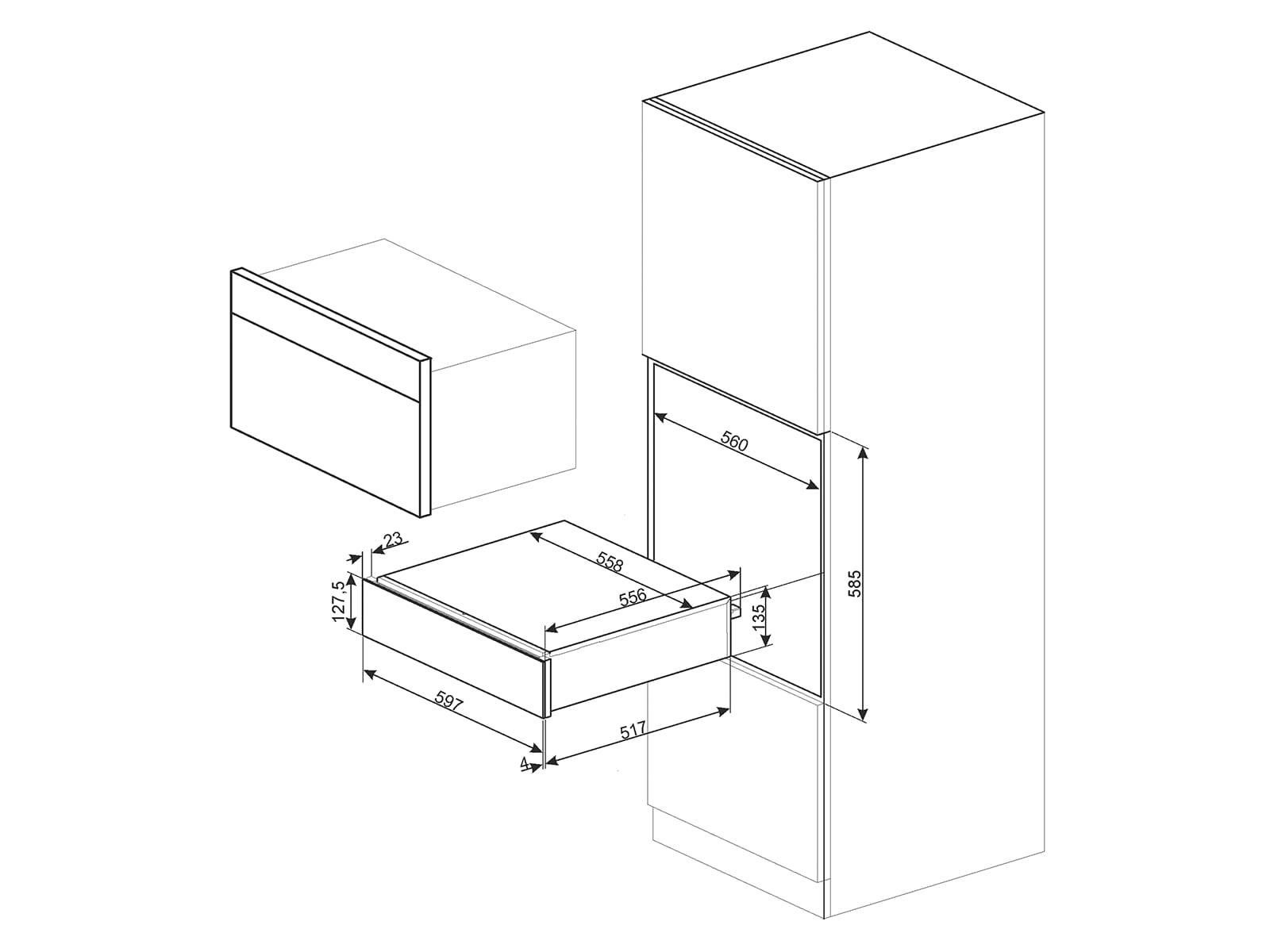 Smeg CPS115S Sommelier-Schublade Silberglas