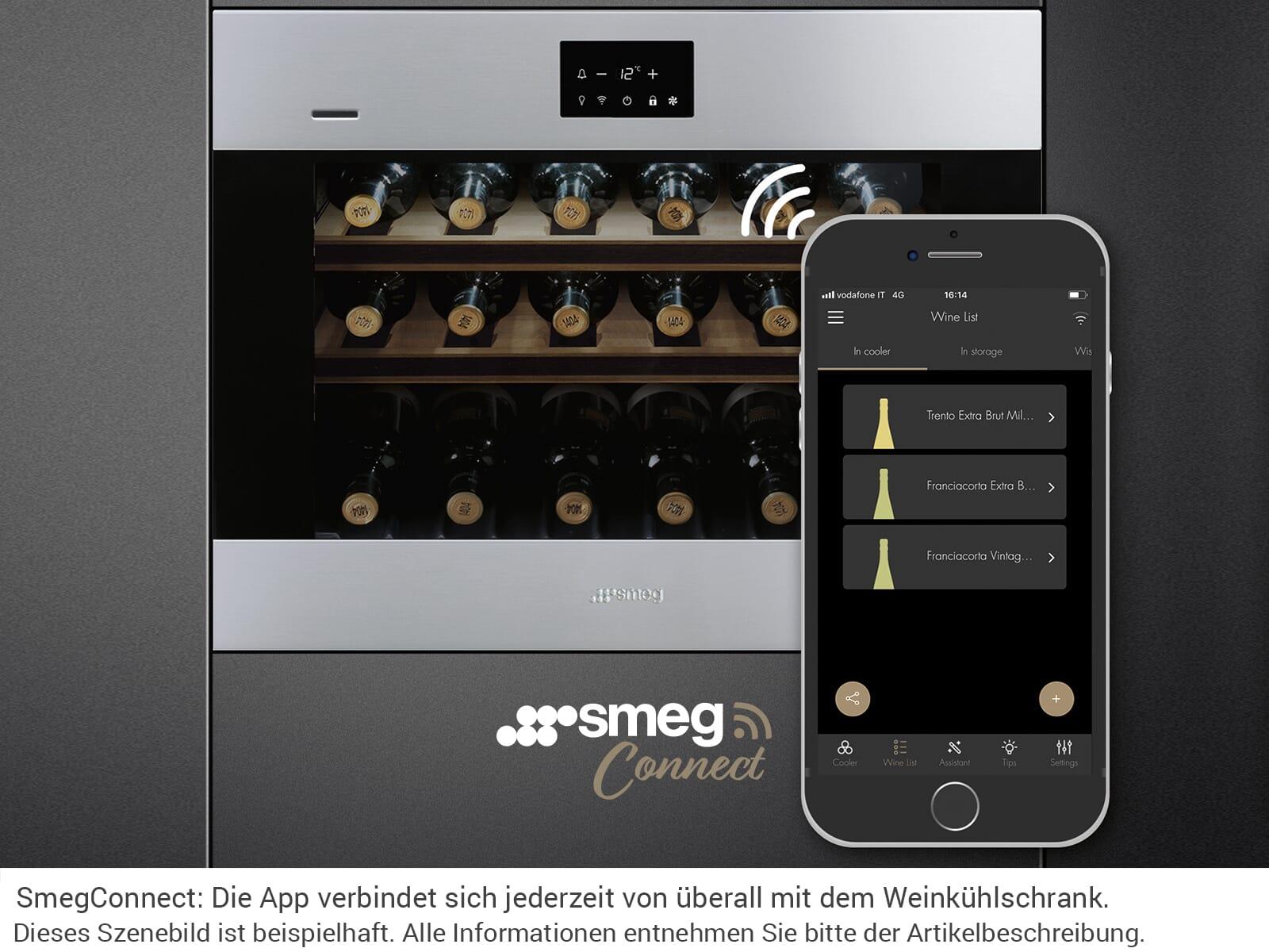 Smeg CVI318LWX2 Einbau Weinkühlschrank Weinklimaschrank Schwarzglas/Edelstahl