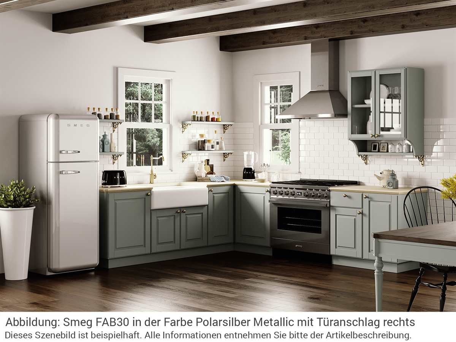 Smeg FAB30RSV3 Kühl-Gefrierkombination Polarsilber Metallic