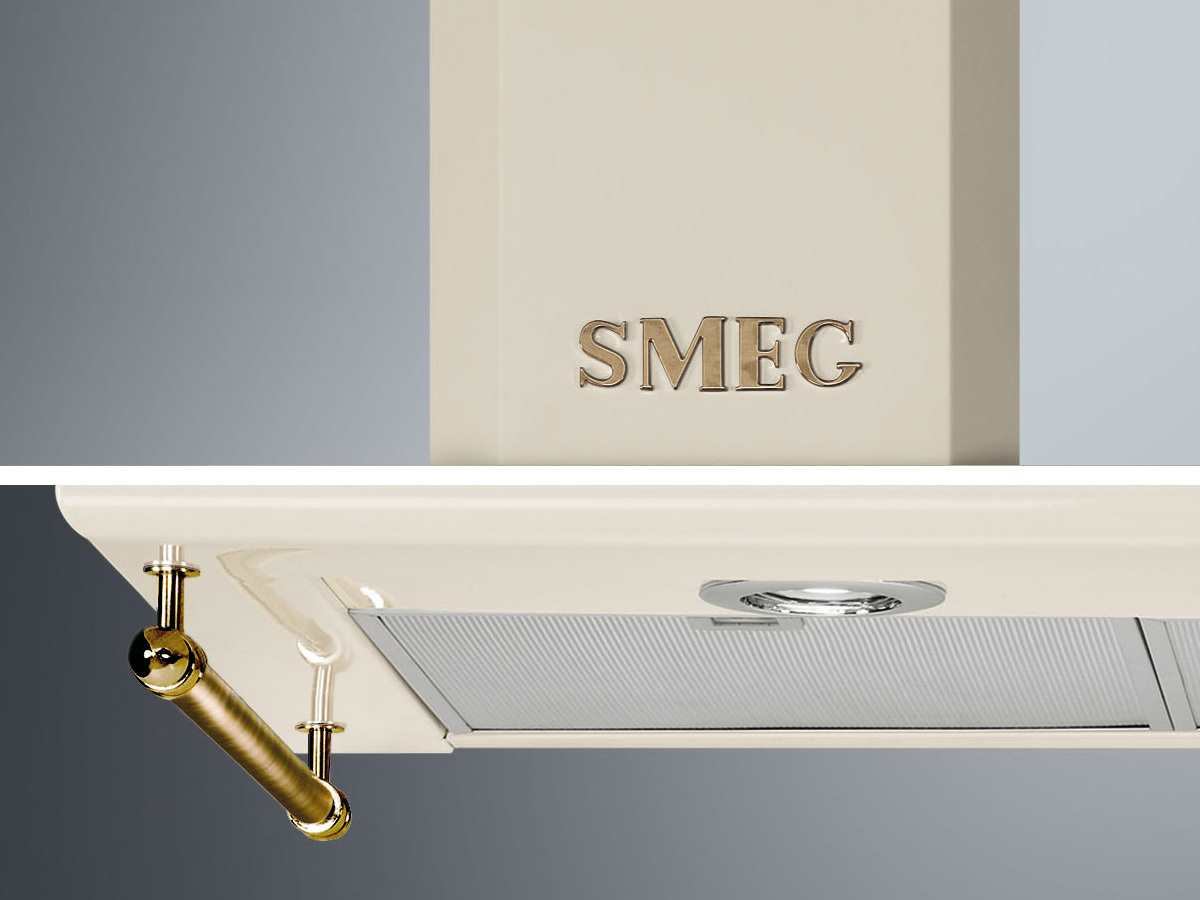 Smeg KITKCO-2 Reling / Smeg-Logo in Messing Antik