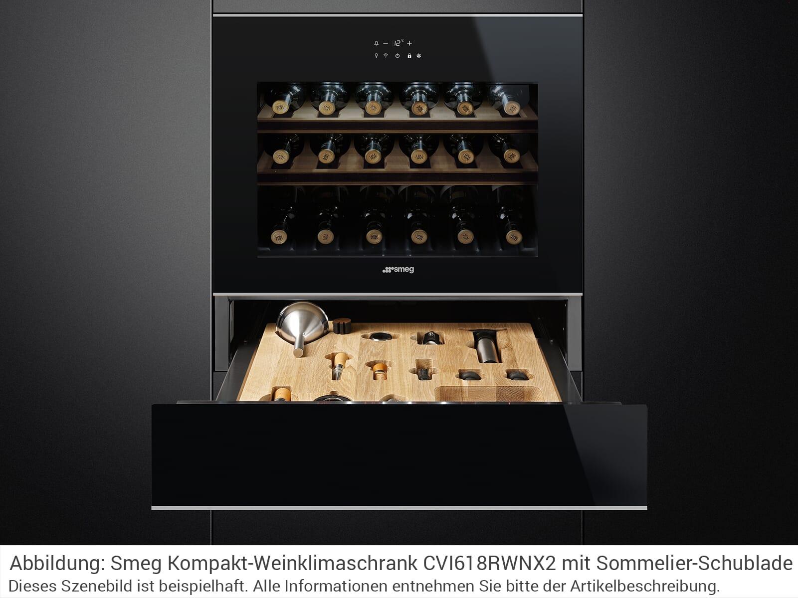 Smeg CVI618RWNX2 Einbau Weinkühlschrank Weinklimaschrank Schwarzglas/Edelstahl