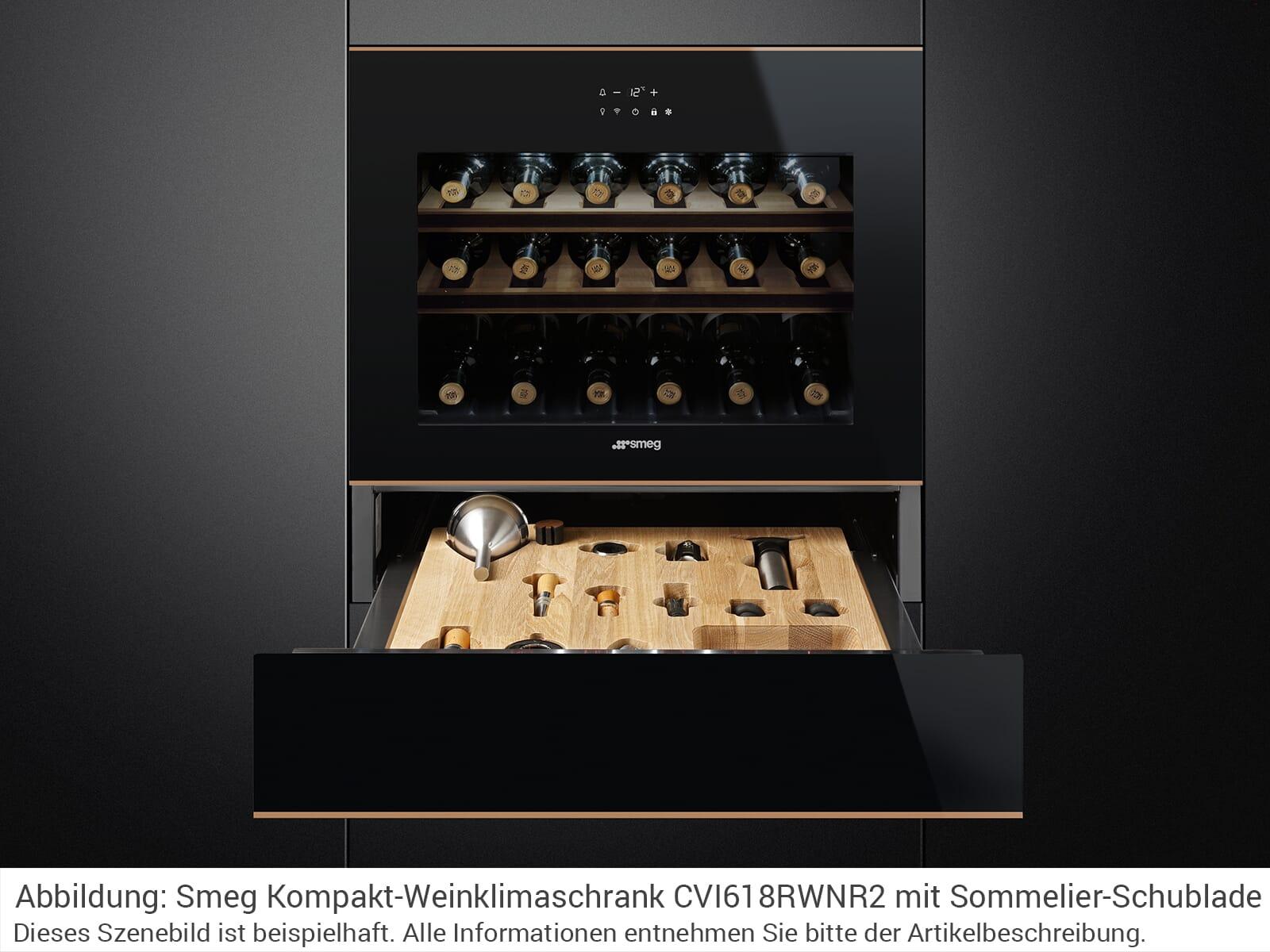 Smeg CVI618LWNR2 Einbau Weinkühlschrank Weinklimaschrank Schwarzglas/Kupfer