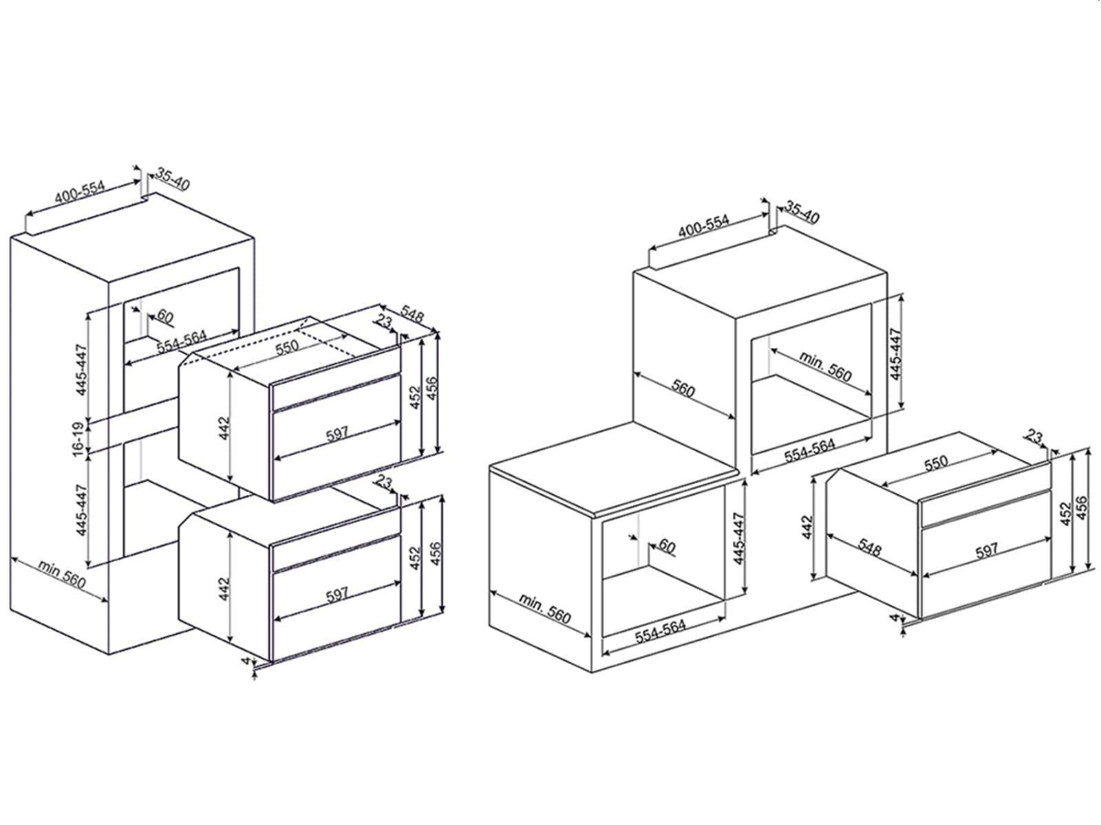 Smeg SF4140MCN Kompakt Backofen mit Mikrowelle Schwarz