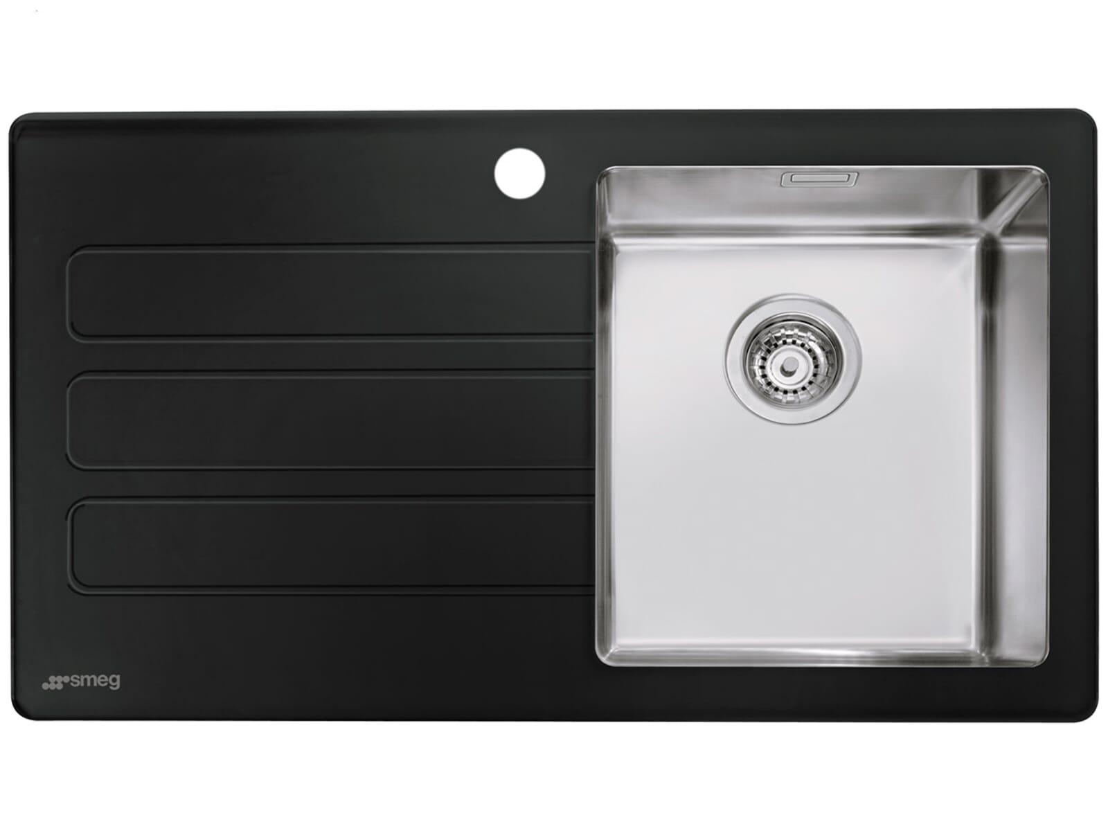Smeg Kühlschrank Schwarz Matt : Smeg lmn vns edelstahl glas spüle schwarz