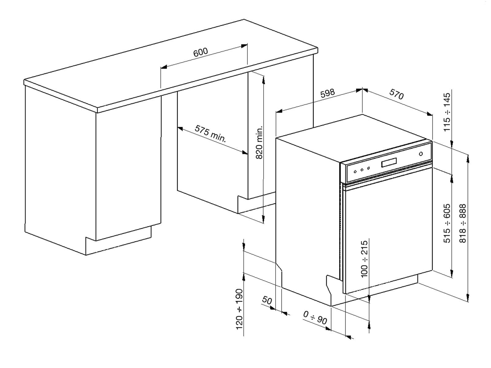 Smeg PL4323XDE Teilintegrierbarer Einbaugeschirrspüler