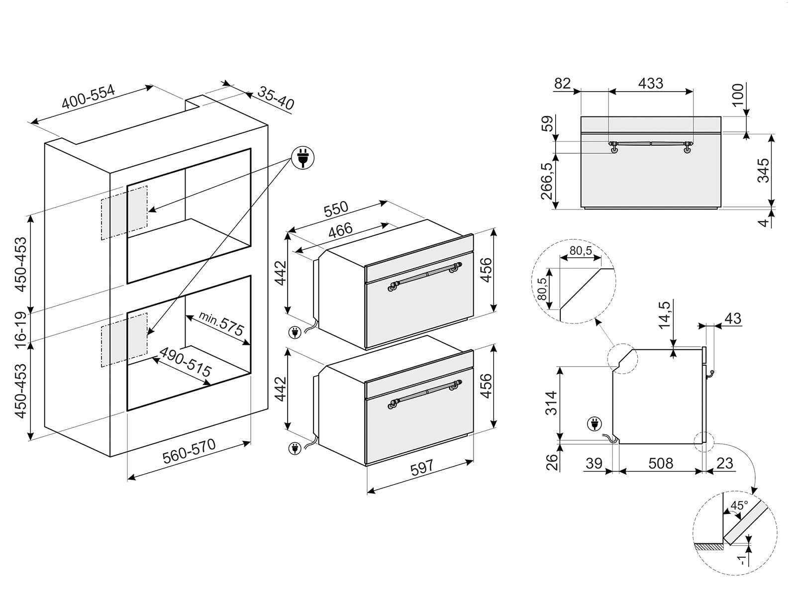 Smeg SF4750MAO Kompakt Mikrowelle mit Grill Anthrazit-Messing