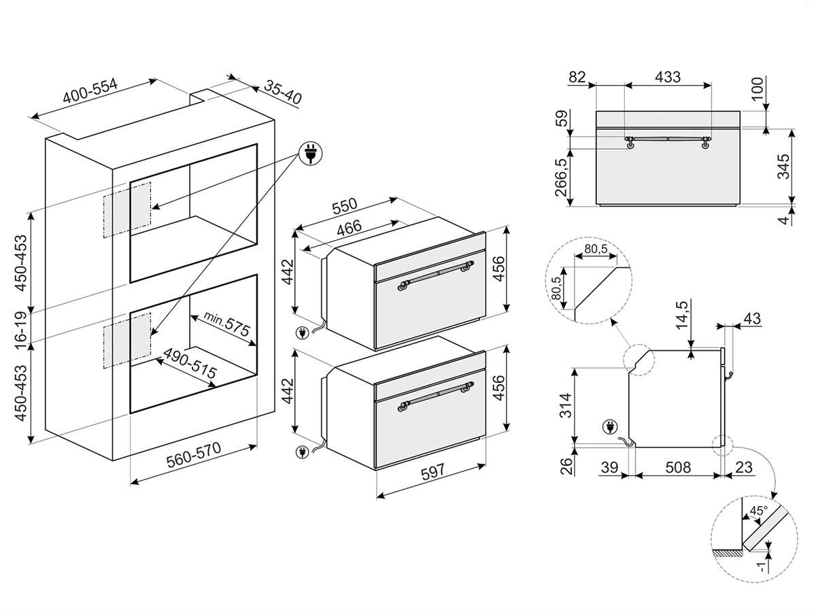 Smeg SF4750MPO Kompakt Mikrowelle mit Grill Creme-Messing