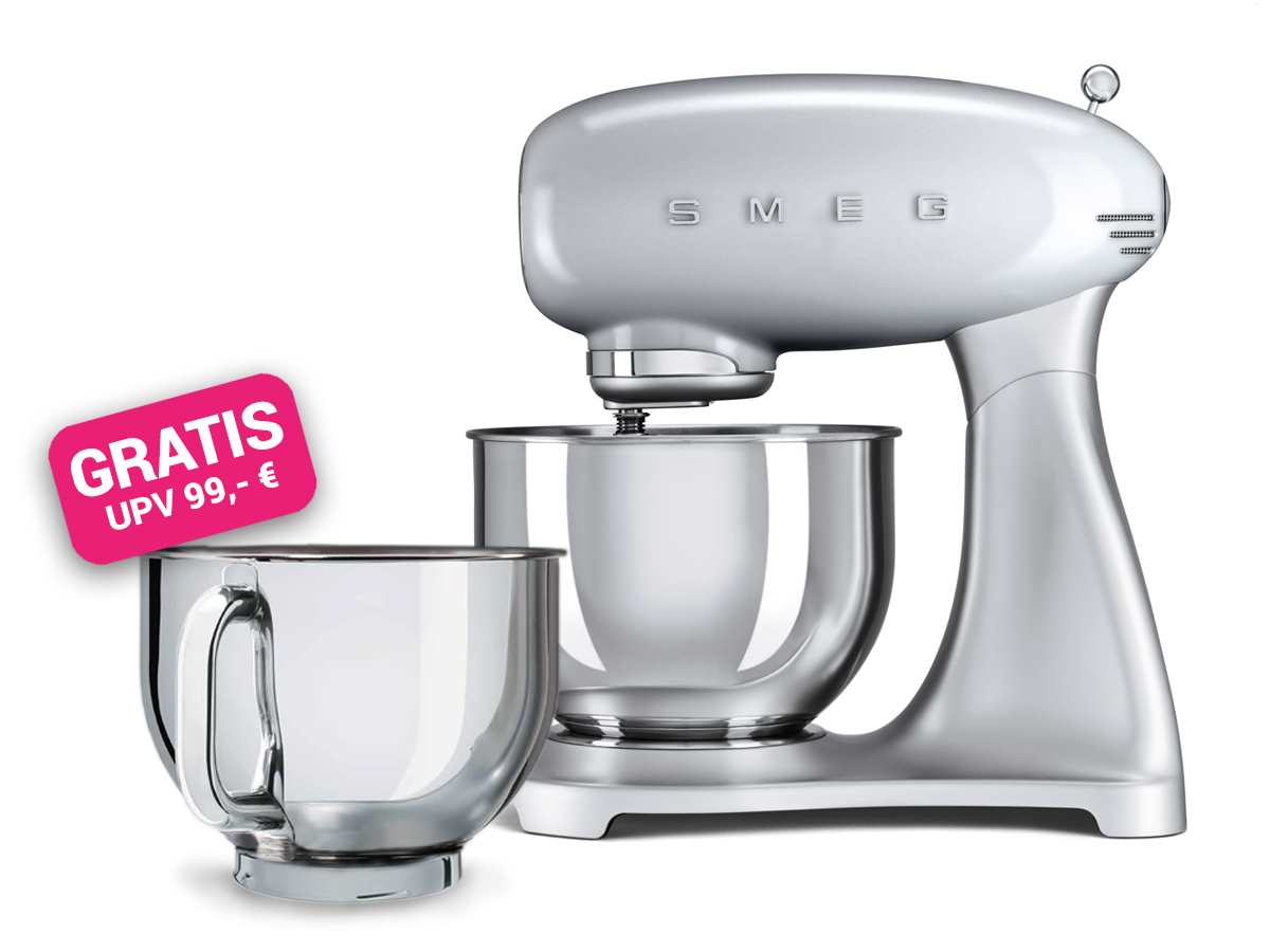 Smeg Kühlschrank Hellgrau : Smeg smf sveu küchenmaschine polarsilber metallic inkl gratis