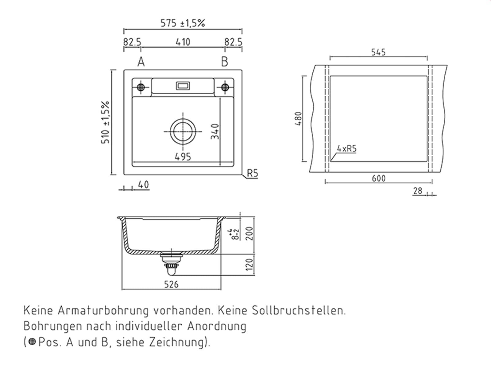 Systemceram Bela 57 Nero Keramik-Spüle Handbetätigung
