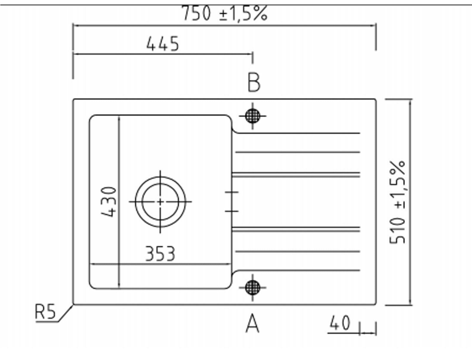 Systemceram Genea 75 Alu Keramikspüle Excenterbetätigung