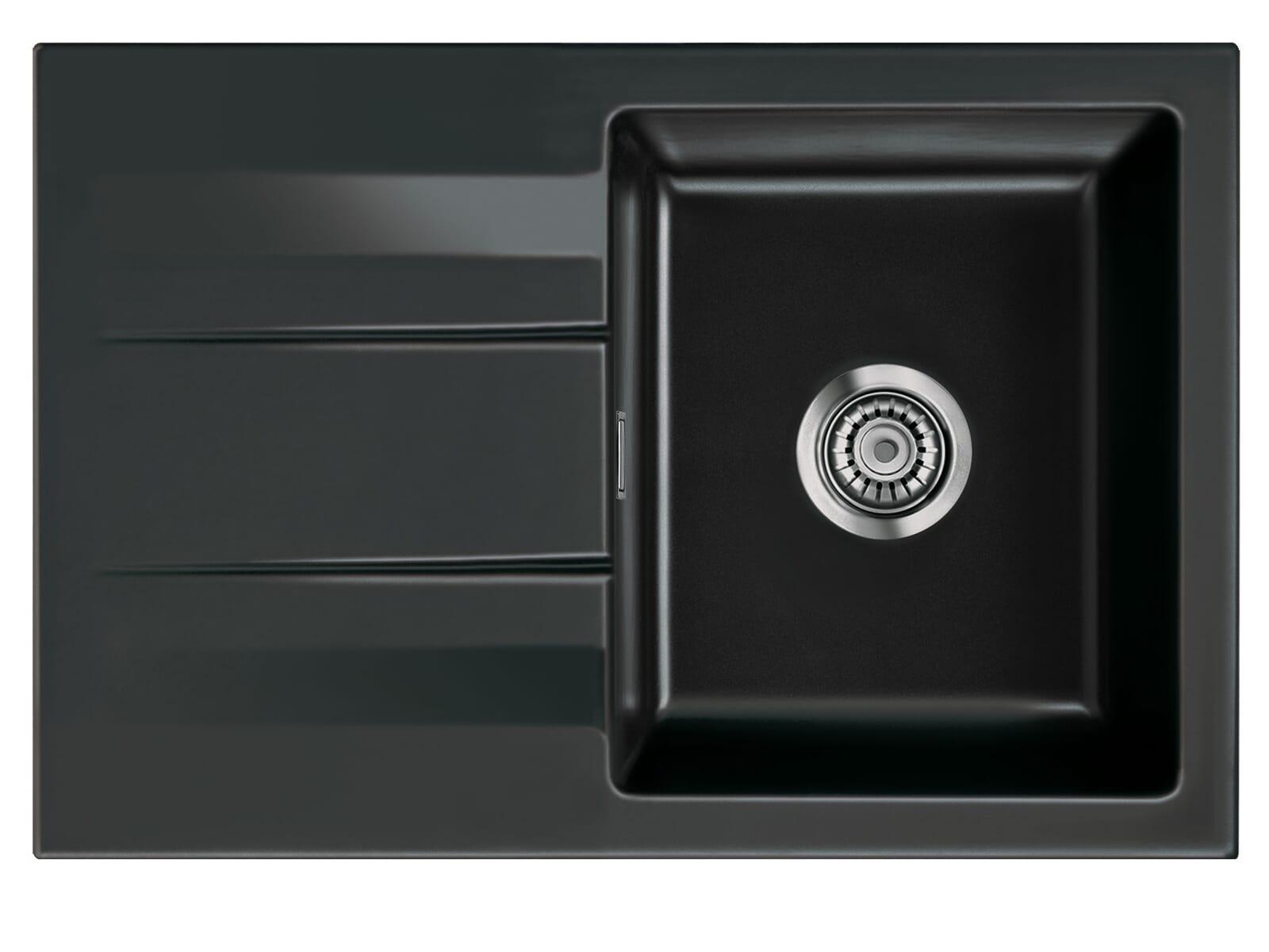Systemceram Genea 75 Nero Keramikspüle Handbetätigung