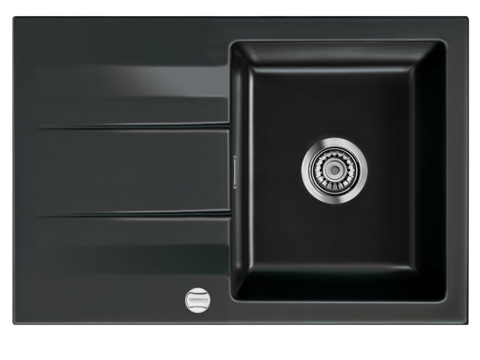 Systemceram Genea 75 Nero Keramikspüle Excenterbetätigung