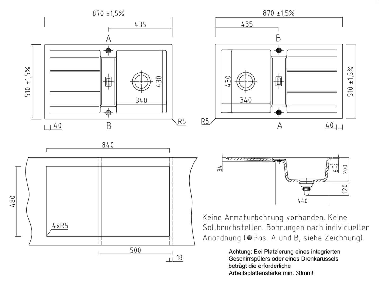 Systemceram Genea 87 Sand Keramik-Spüle Excenterbetätigung