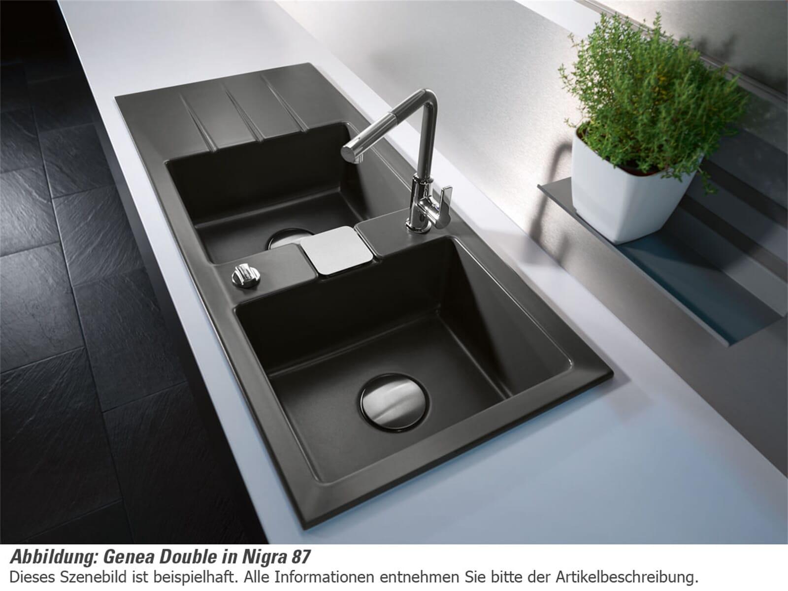 Systemceram Genea Double Satin Keramikspüle Handbetätigung