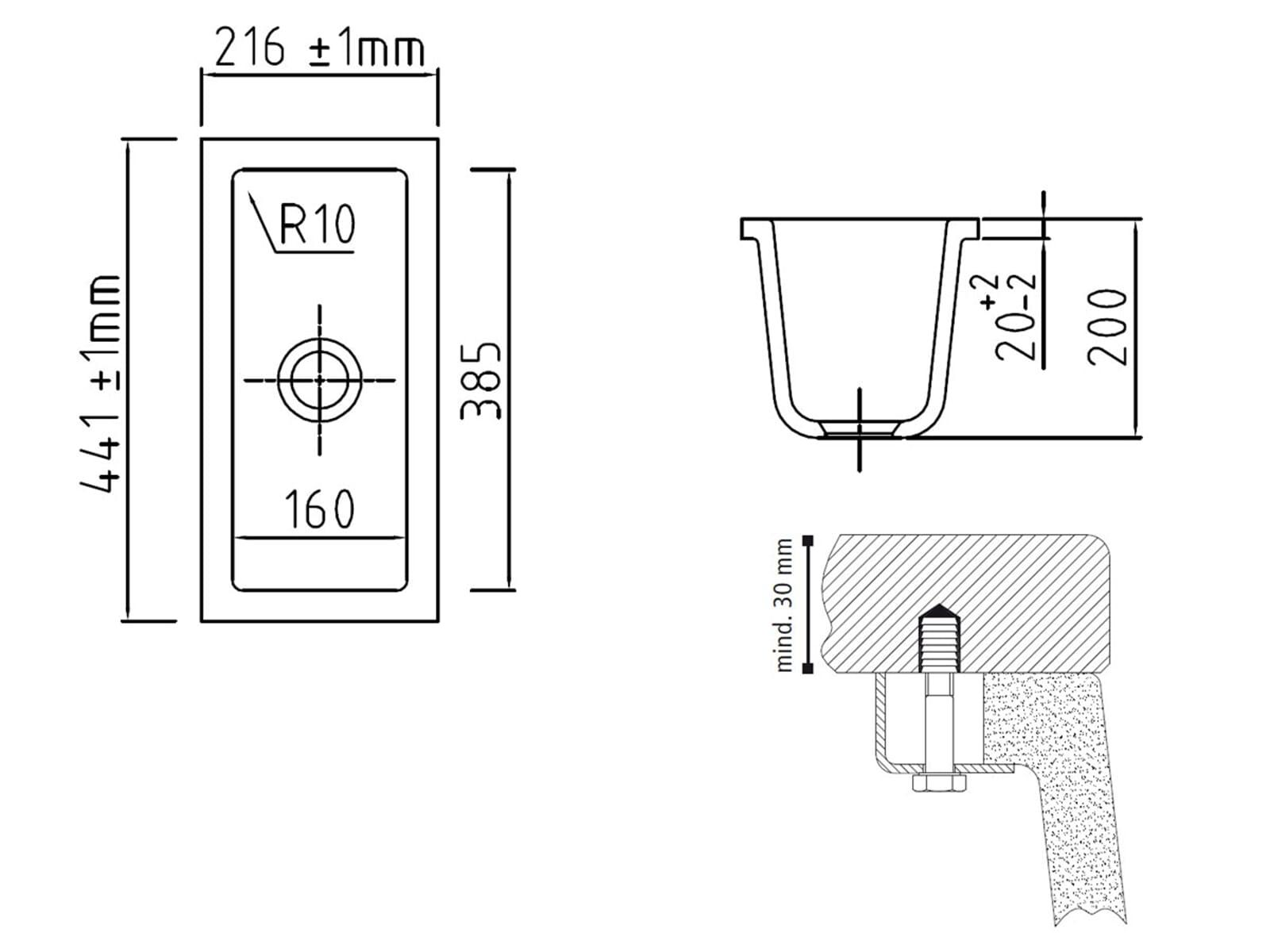 Systemceram Mera 16 U Satin Keramikspüle Handbetätigung