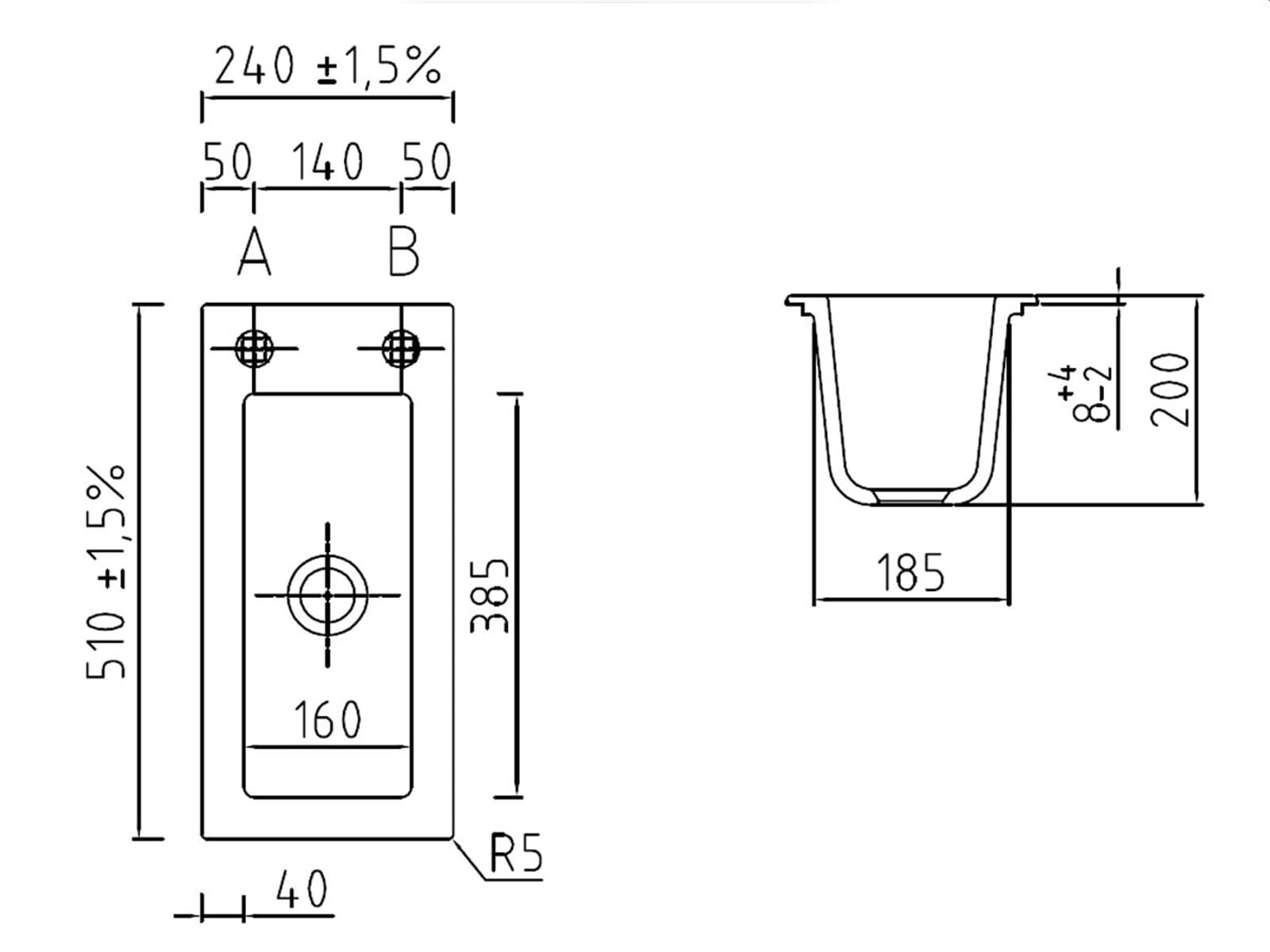 Systemceram Mera 24 Satin Keramikspüle Handbetätigung