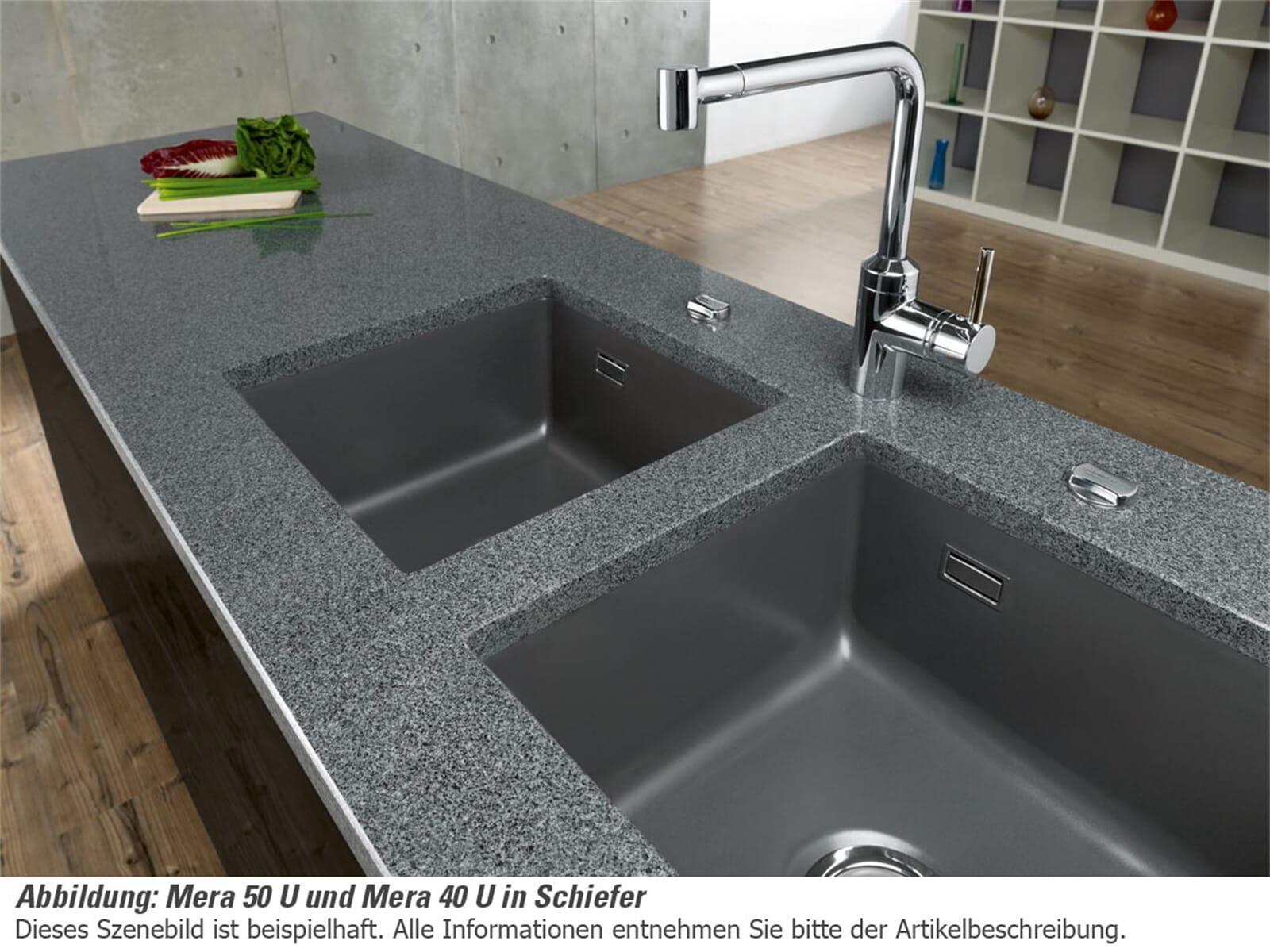 Systemceram Mera 40 U Satin Keramikspüle Excenterbetätigung