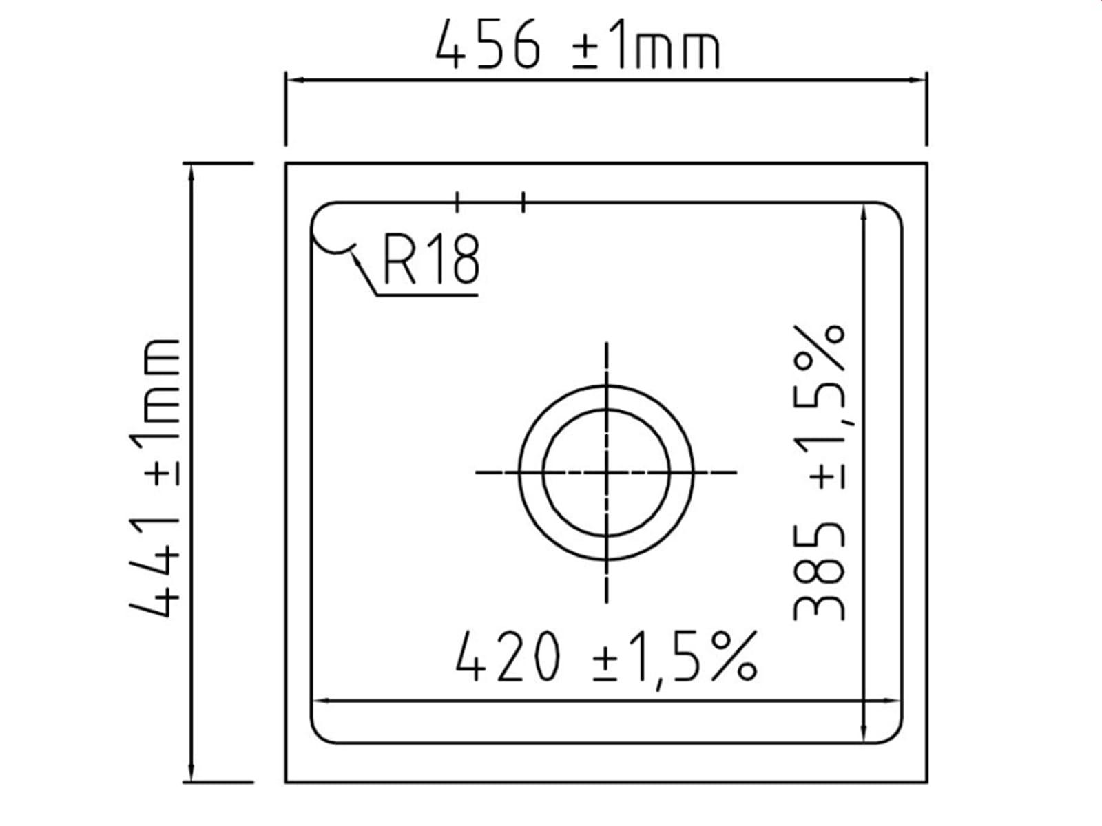 Systemceram Mera 42 U Nigra Keramikspüle Handbetätigung