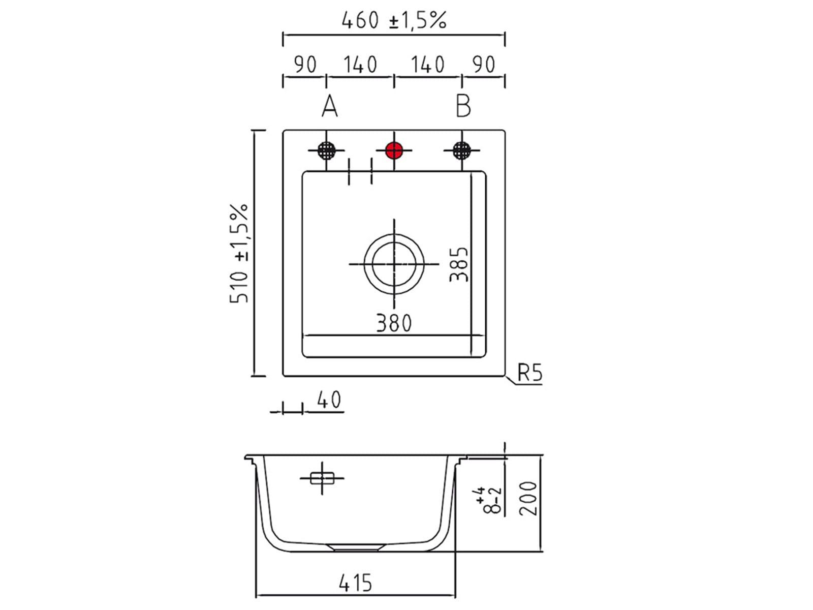 Systemceram Mera 46 Satin Keramikspüle Handbetätigung