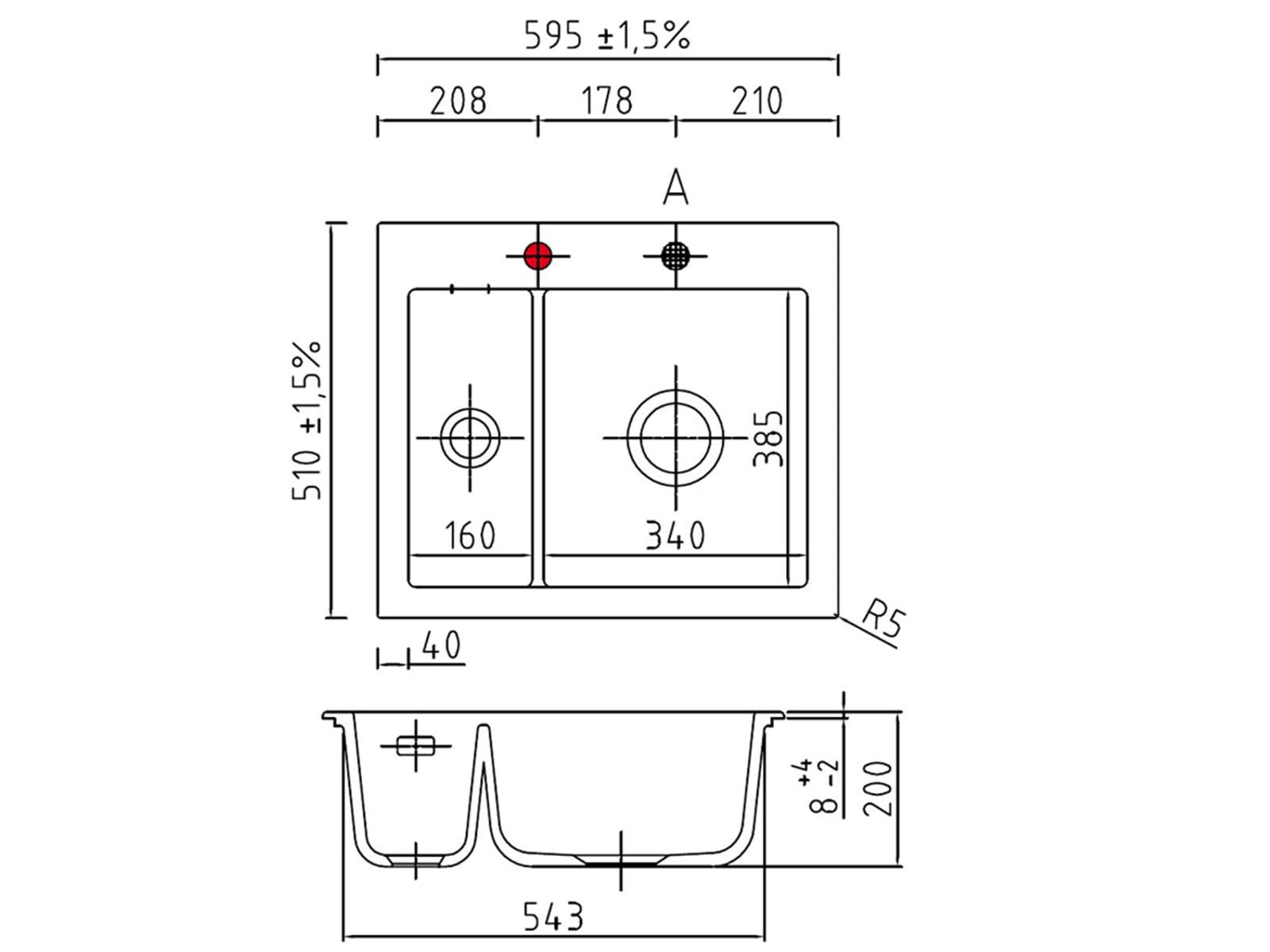 Systemceram Mera 60 Satin Keramikspüle Excenterbetätigung