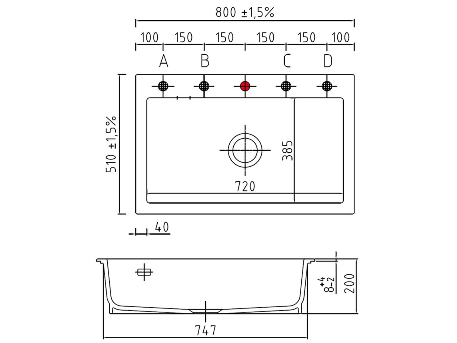 Systemceram Mera 80 Satin Keramikspüle Excenterbetätigung