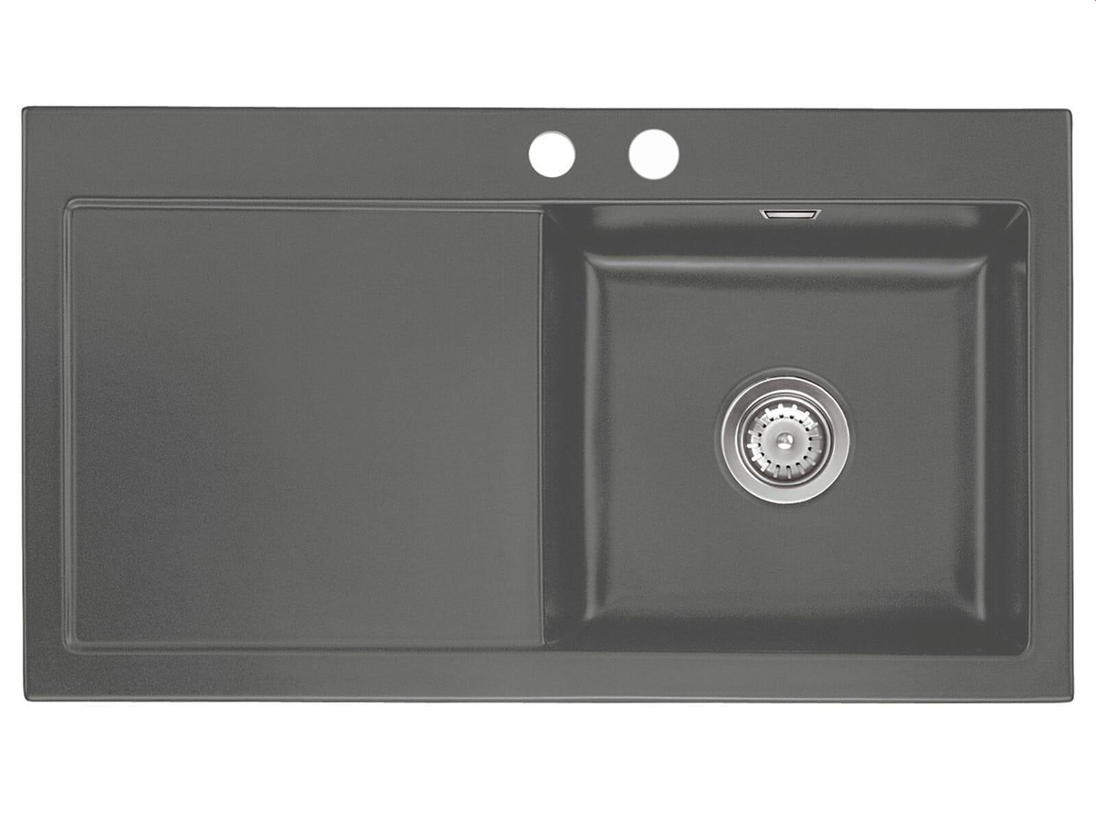 Systemceram Mera 90 Lava Keramikspüle Handbetätigung inkl. Hahnlöcher und CleanPlus
