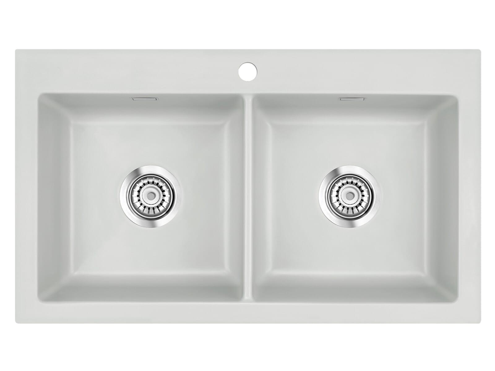 Systemceram Mera Twin Alu Keramikspüle Handbetätigung