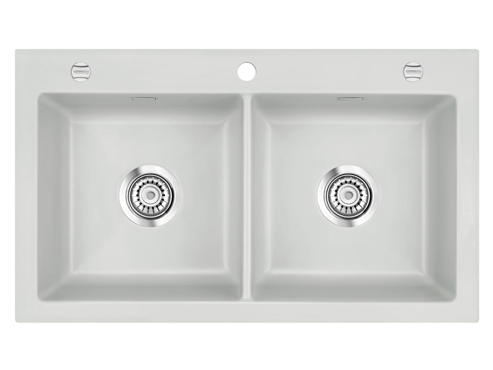Systemceram Mera Twin Alu Keramikspüle Excenterbetätigung