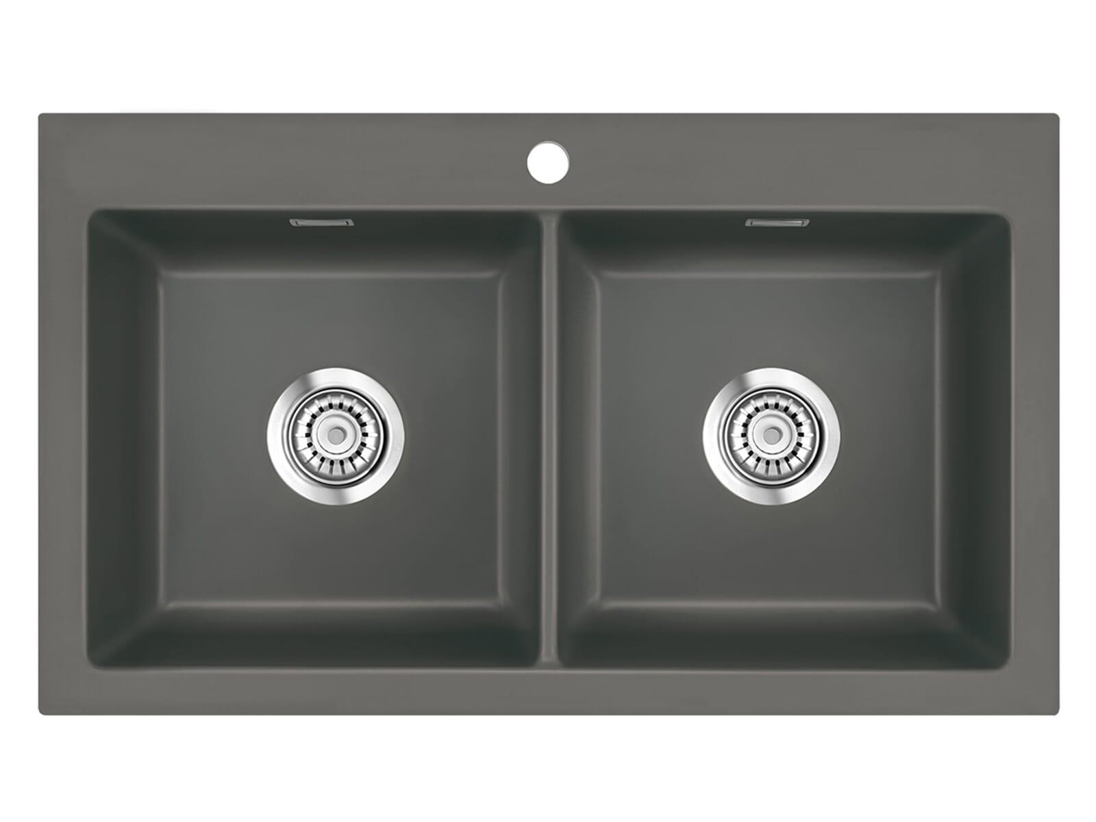 Systemceram Mera Twin Lava Keramikspüle Handbetätigung