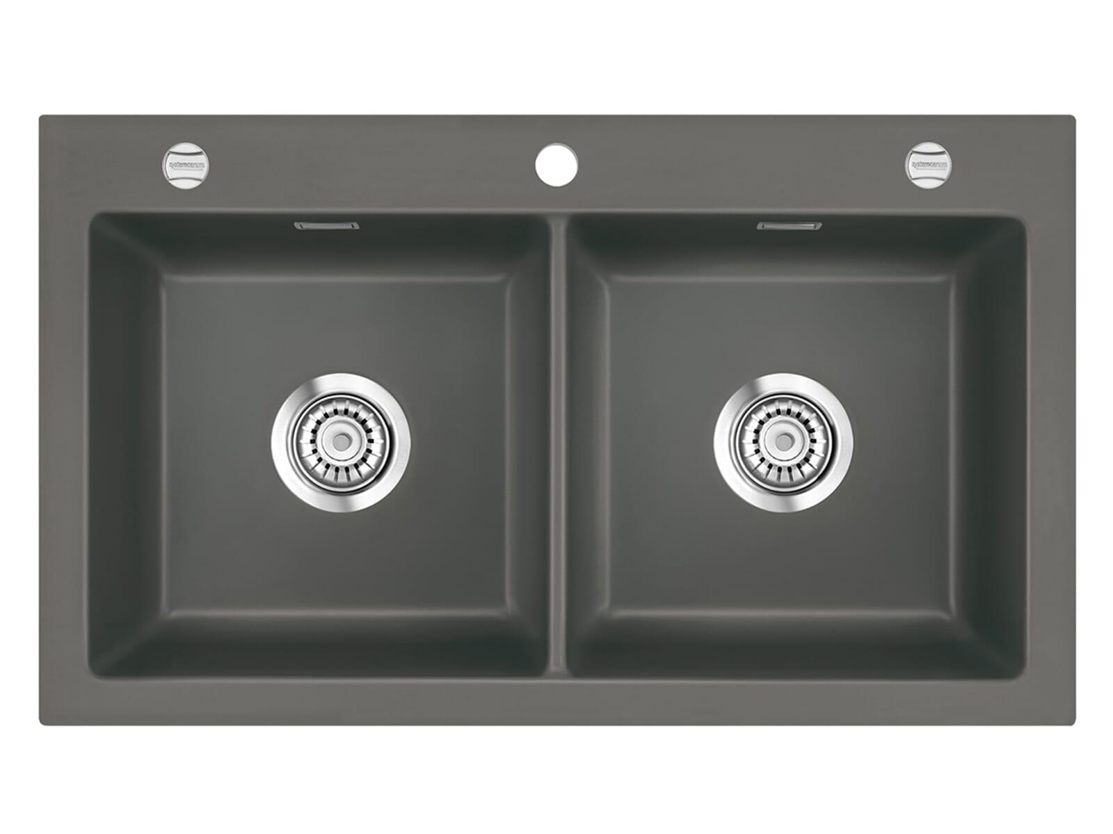 Systemceram Mera Twin Lava Keramikspüle Excenterbetätigung