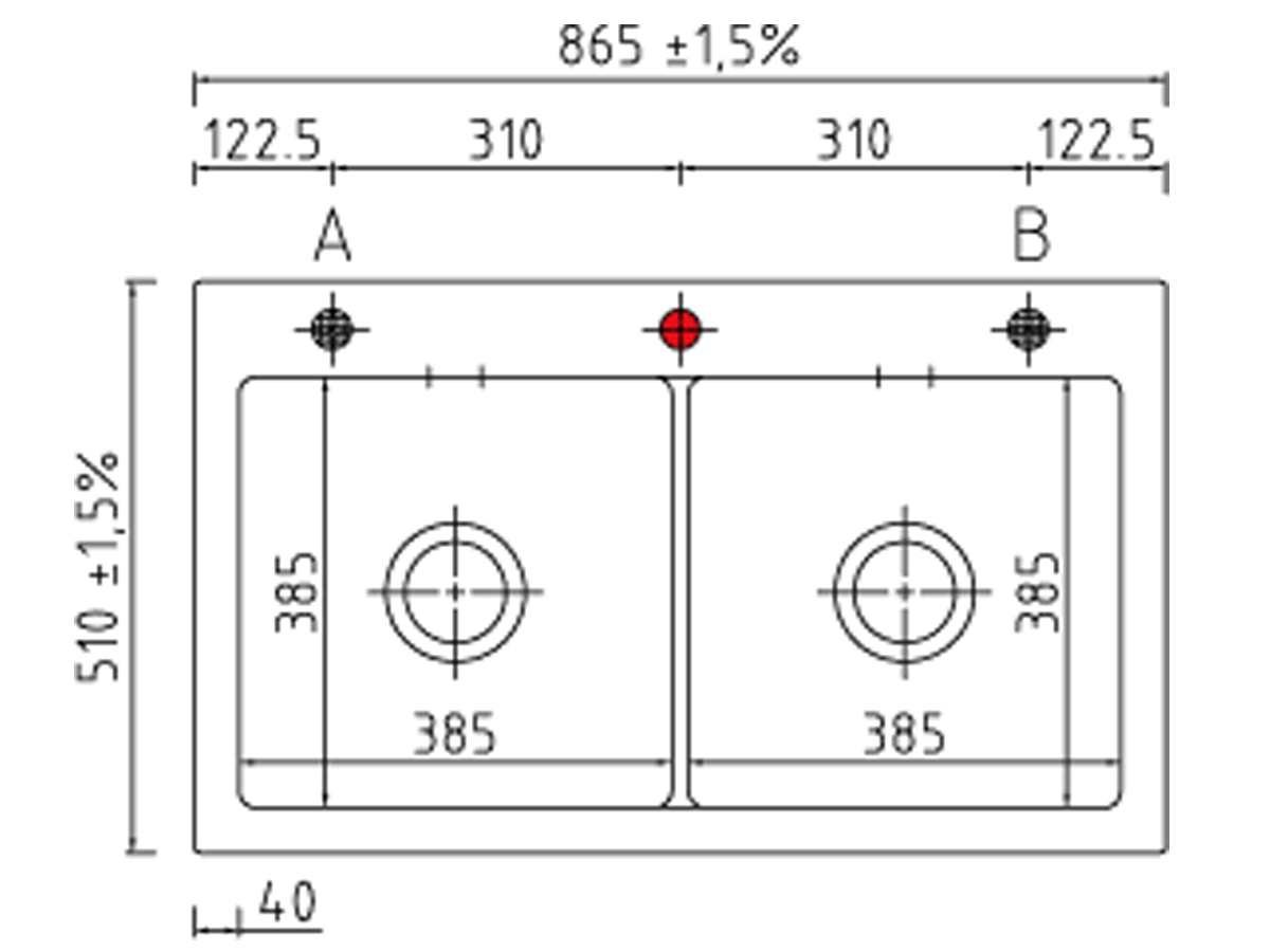 Systemceram Mera Twin Fango Keramikspüle Excenterbetätigung