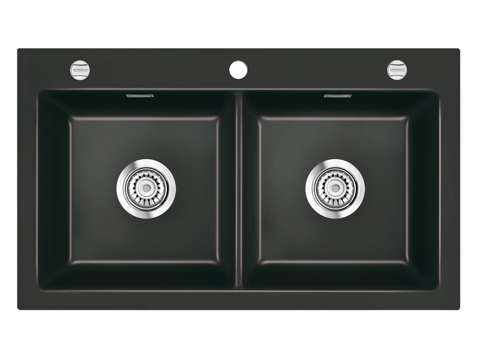 Systemceram Mera Twin Nero Keramikspüle Excenterbetätigung