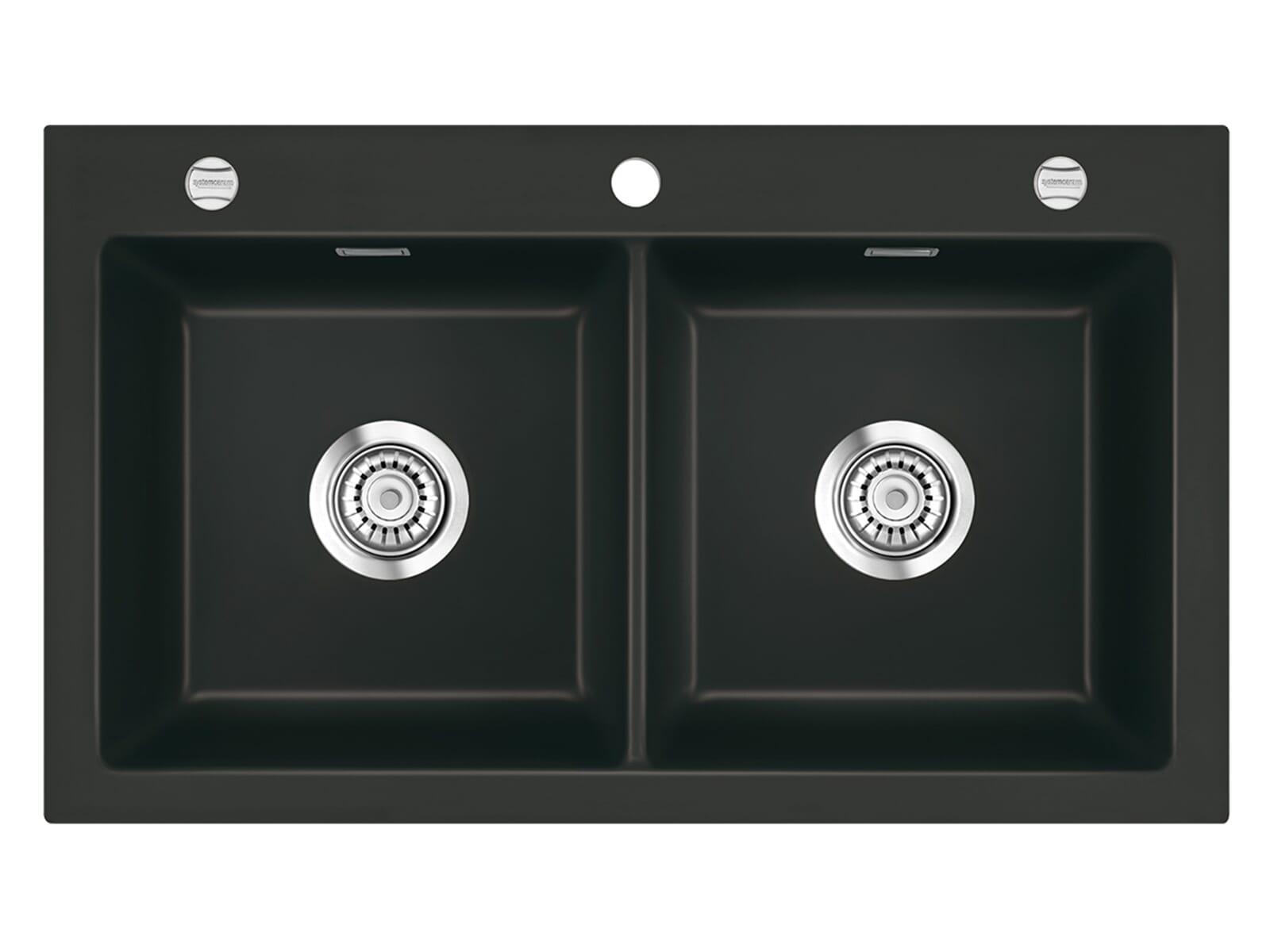 Systemceram Mera Twin Nigra Keramikspüle Excenterbetätigung