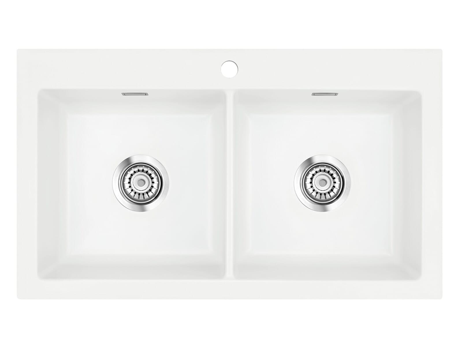 Systemceram Mera Twin Polar Keramikspüle Handbetätigung