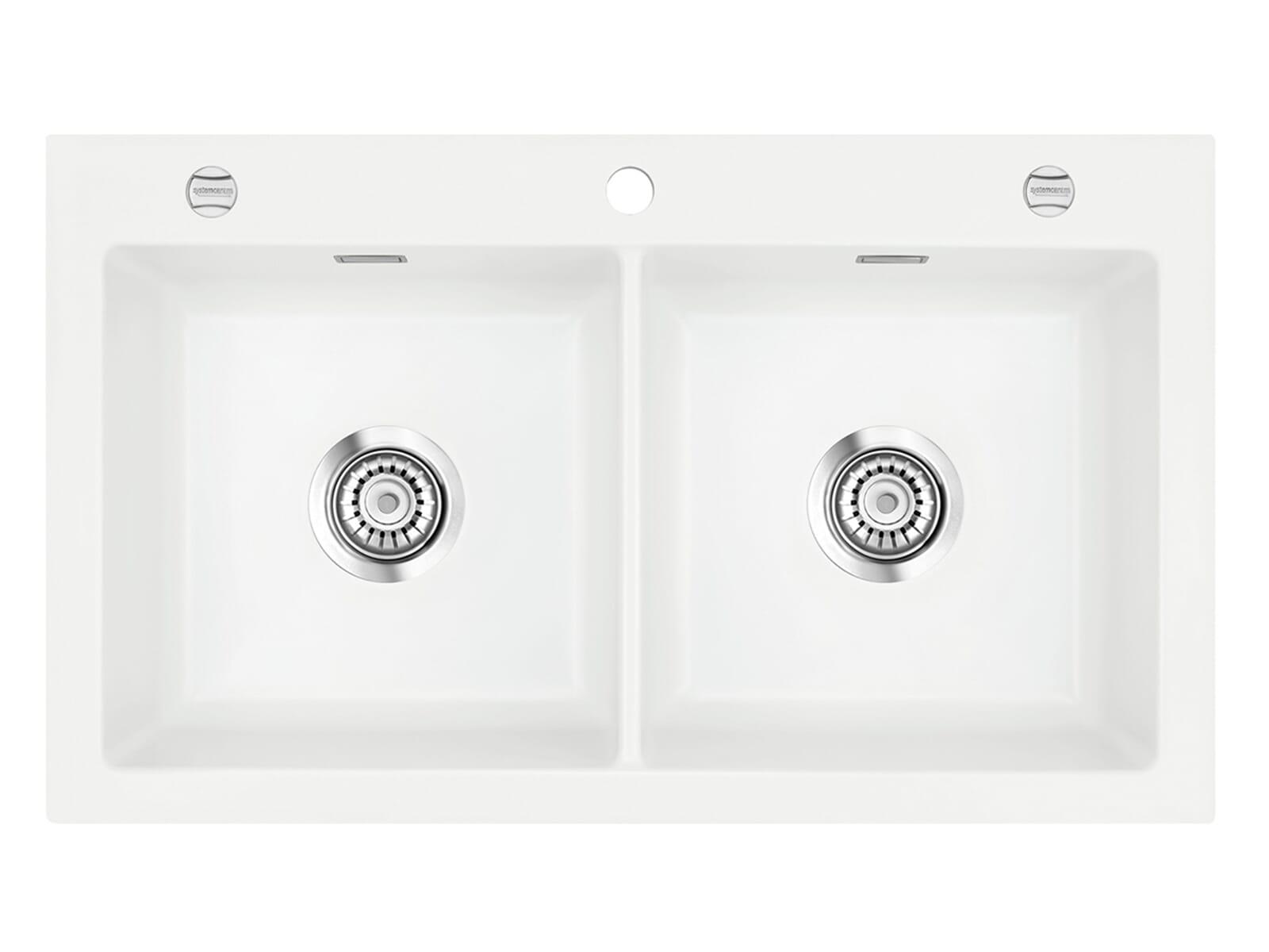 Systemceram Mera Twin Polar Keramikspüle Excenterbetätigung