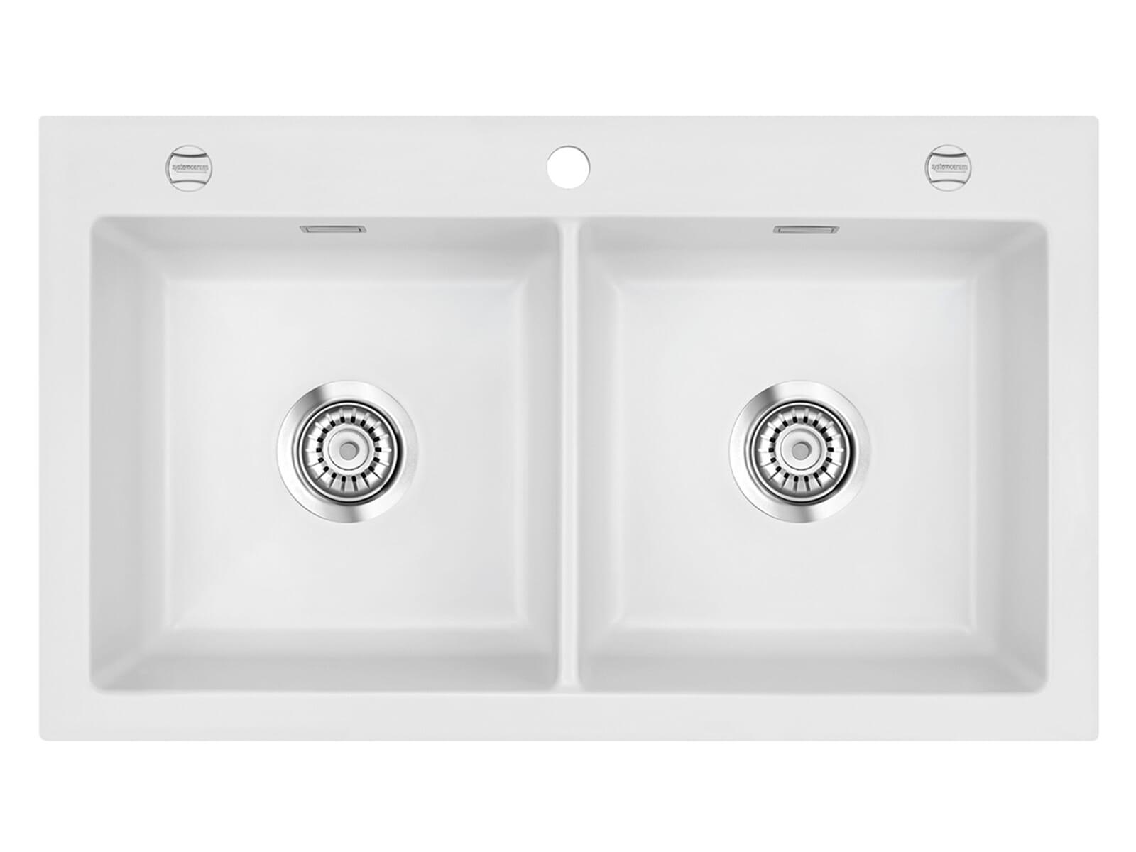 Systemceram Mera Twin Satin Keramikspüle Excenterbetätigung