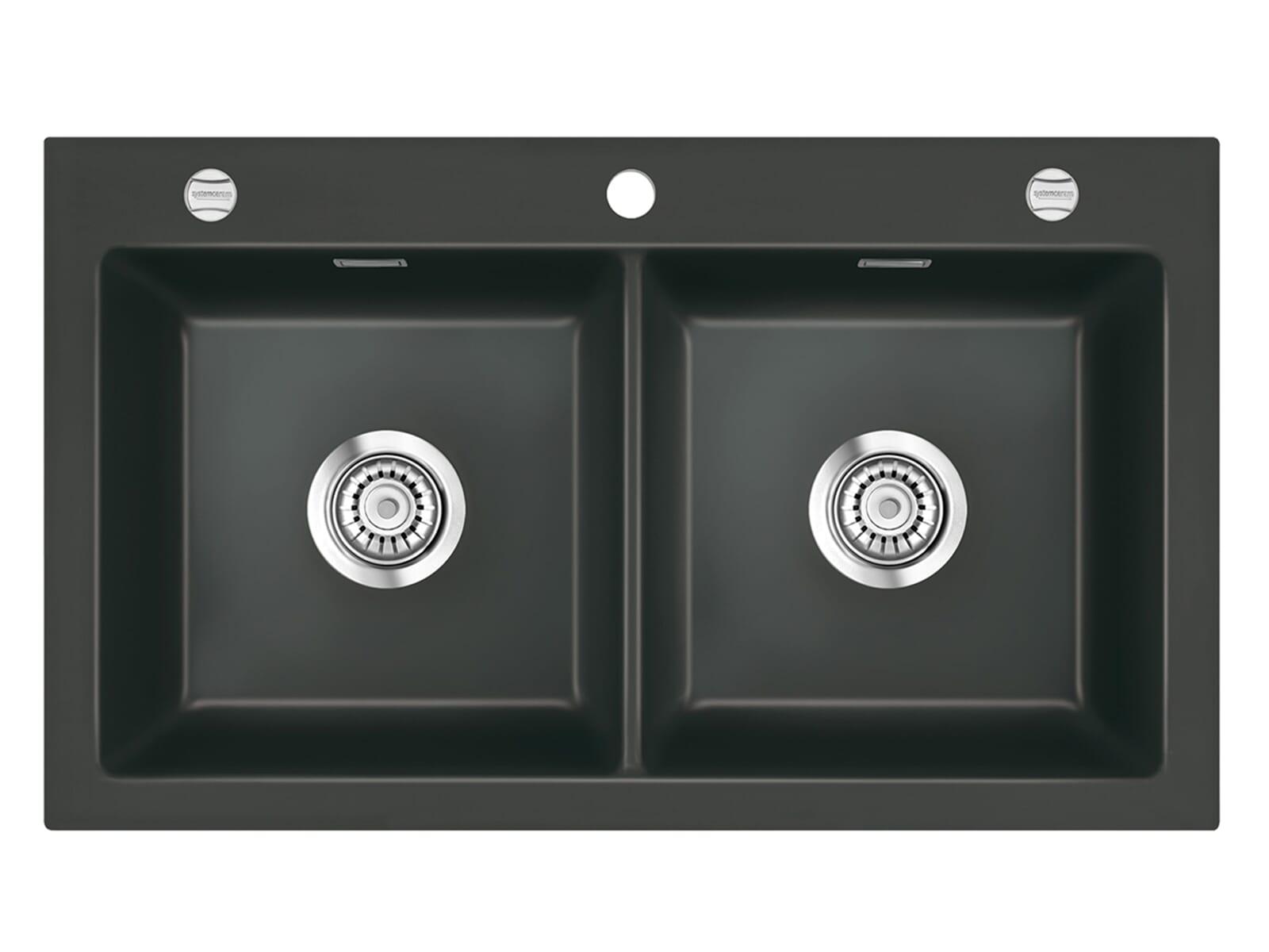 Systemceram Mera Twin Schiefer Keramikspüle Excenterbetätigung