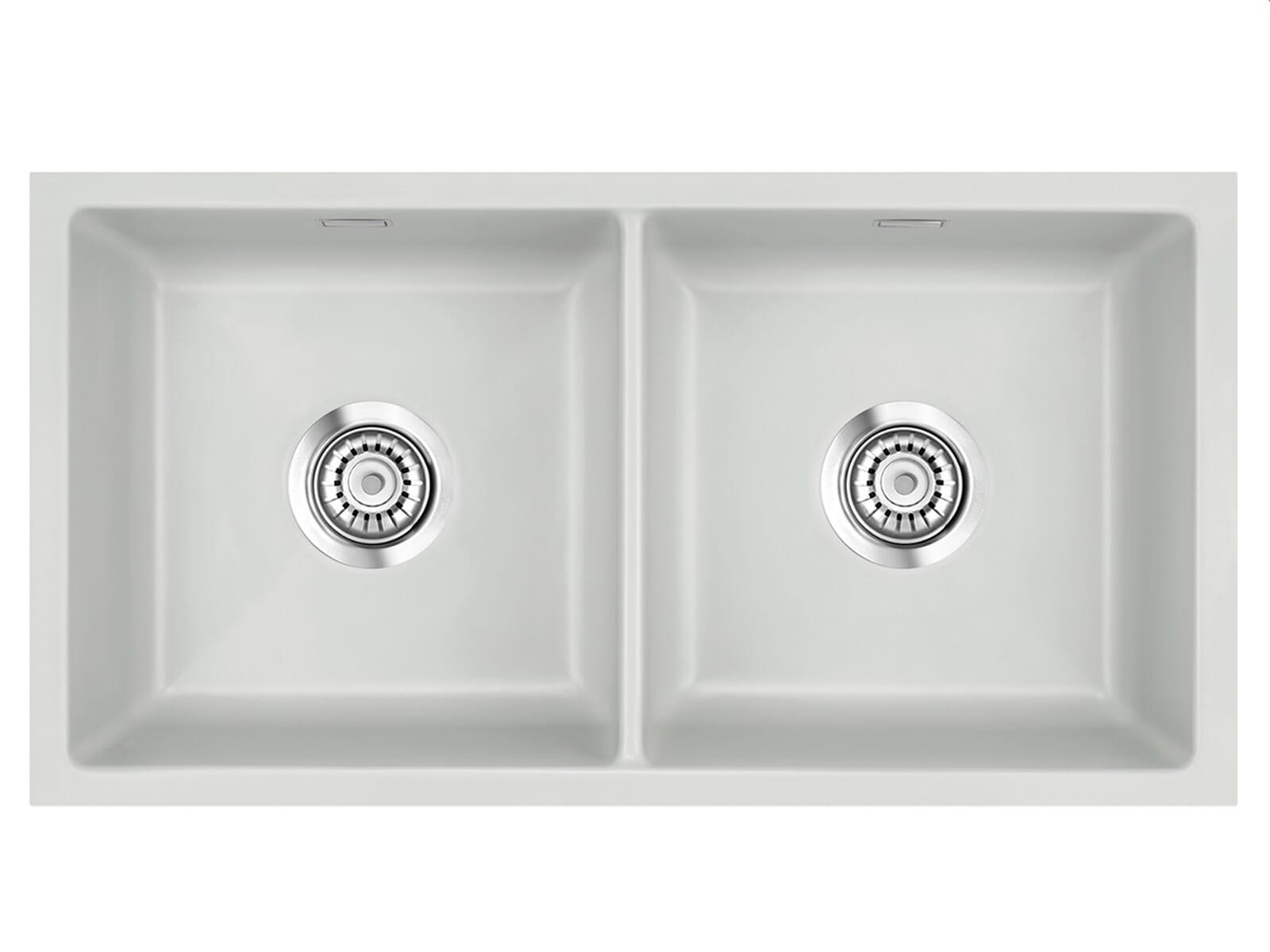 Systemceram Mera Twin U Alu Keramikspüle Handbetätigung