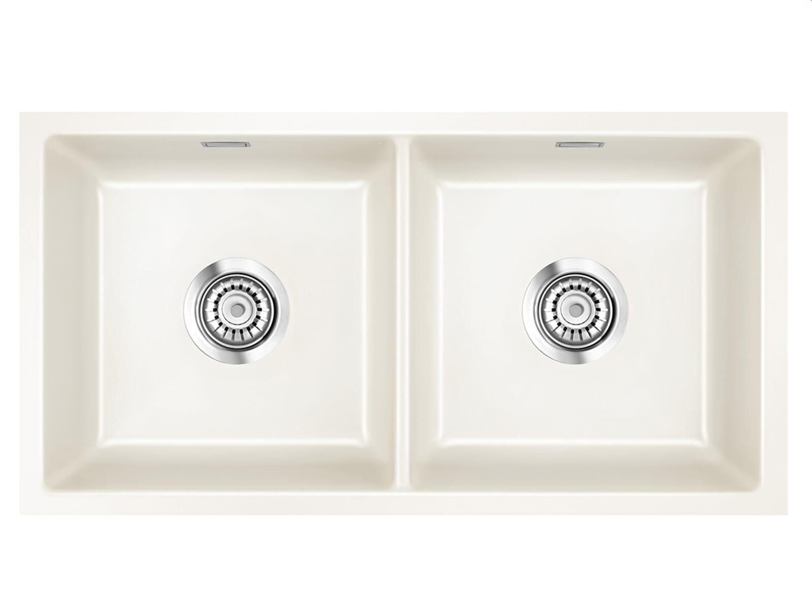 Systemceram Mera Twin U Magnolie Keramikspüle Excenterbetätigung