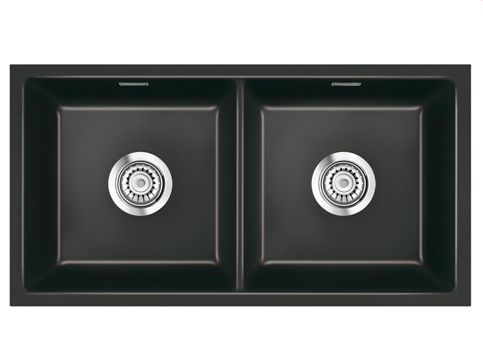 Systemceram Mera Twin U Nero Keramikspüle Handbetätigung