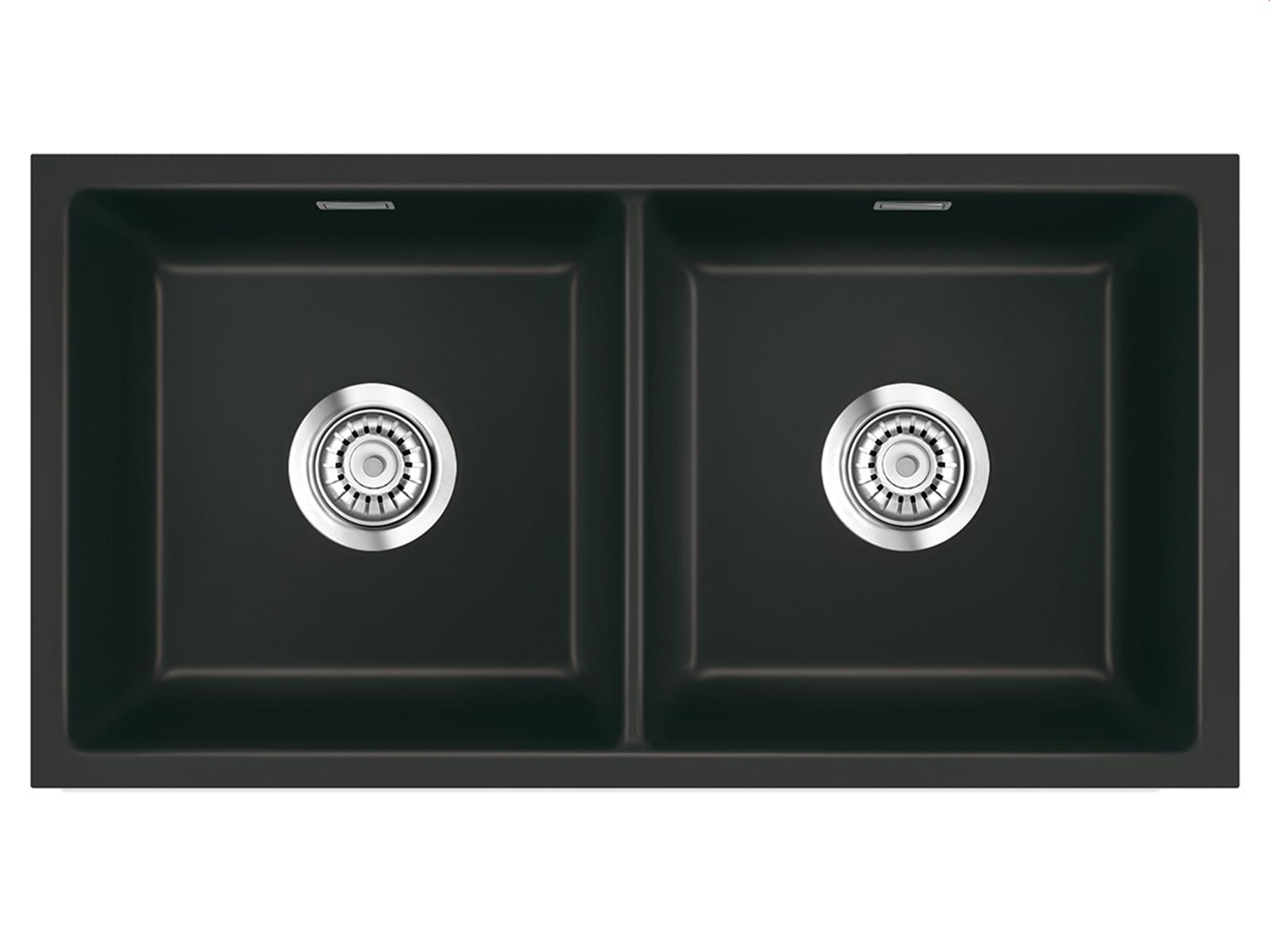 Systemceram Mera Twin U Nigra Keramikspüle Excenterbetätigung