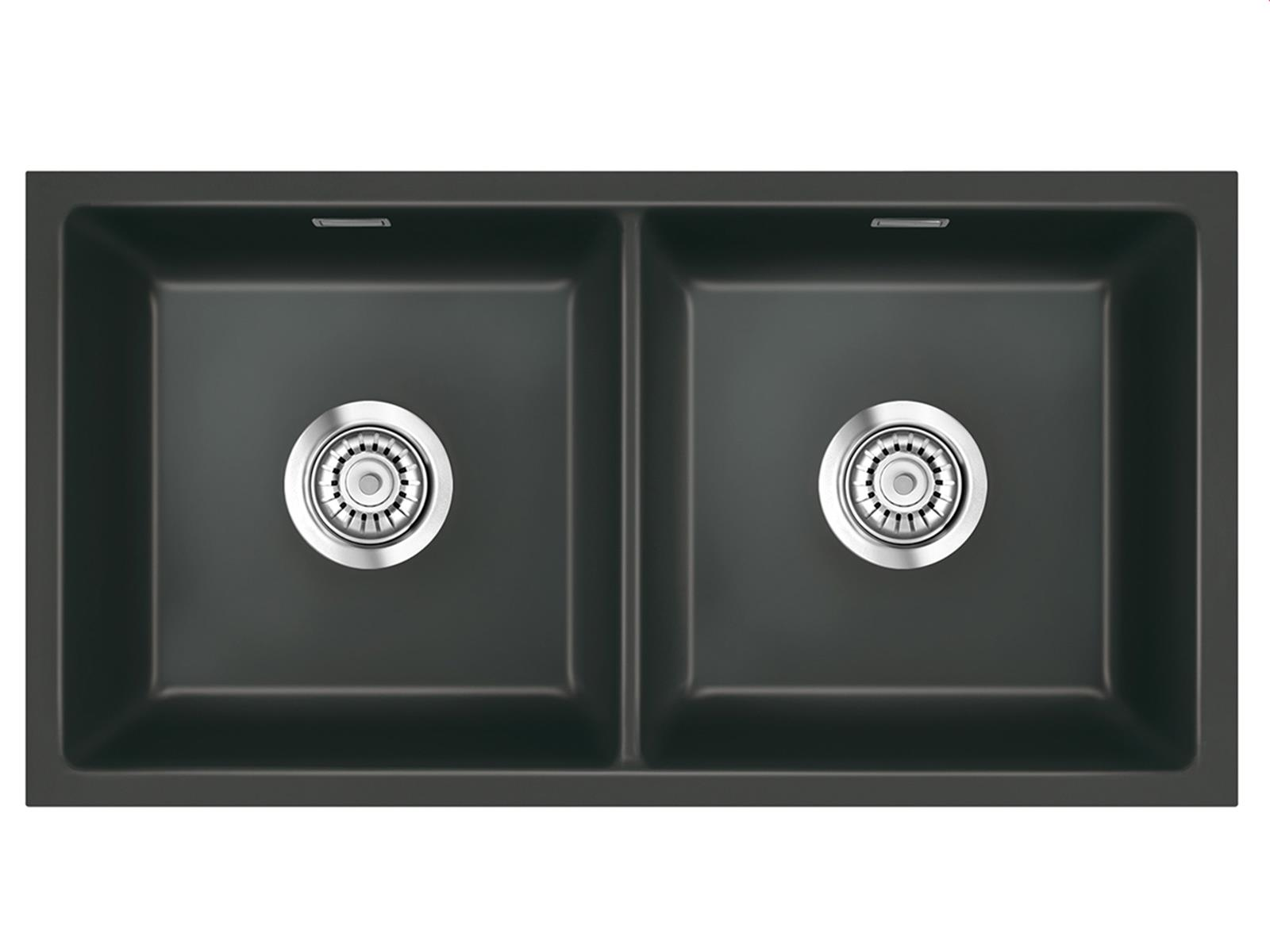 Systemceram Mera Twin U Schiefer Keramikspüle Handbetätigung