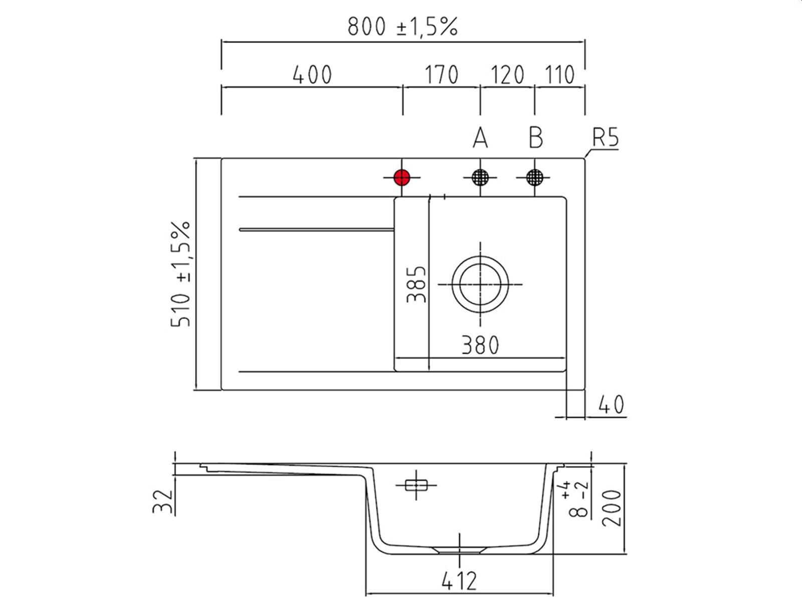 Systemceram Stema 80 Satin Keramikspüle Handbetätigung