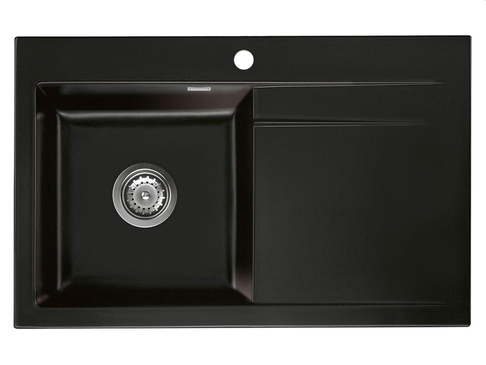 d8532f3fb559b5 Systemceram Stema 80 Nero Keramikspüle Handbetätigung