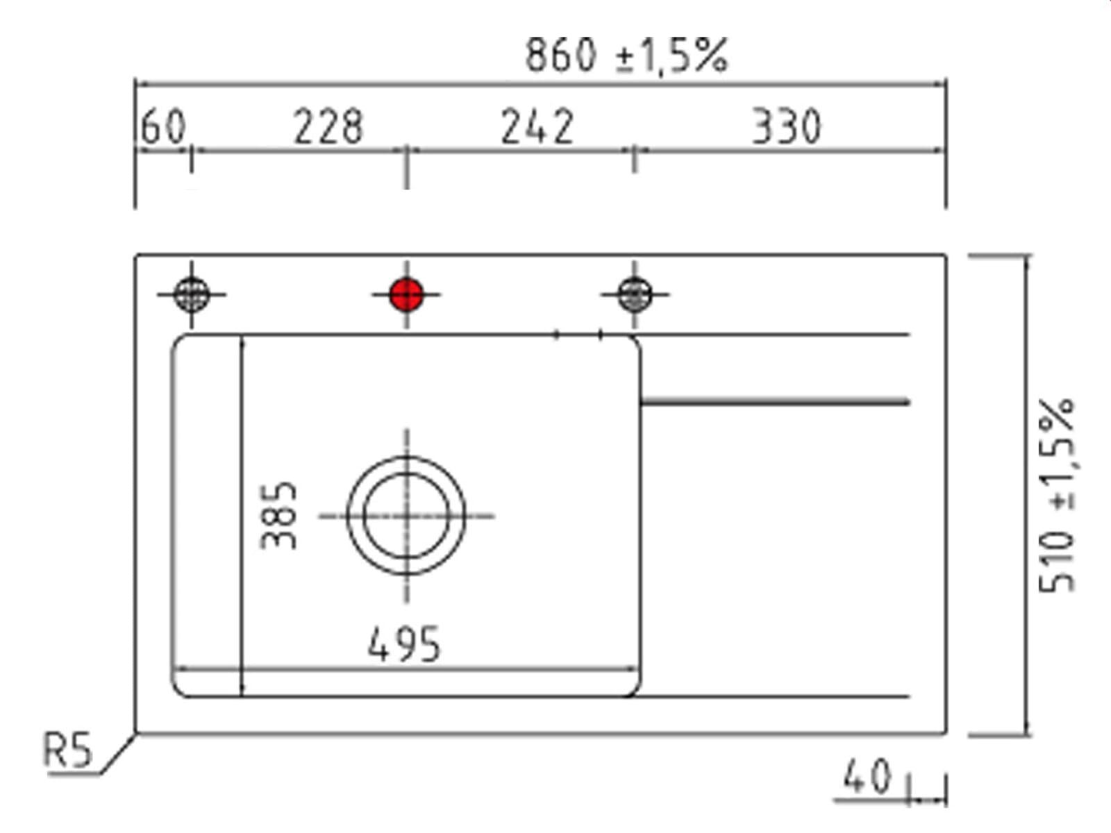 Systemceram Stema 86 SL Nero Keramikspüle Handbetätigung