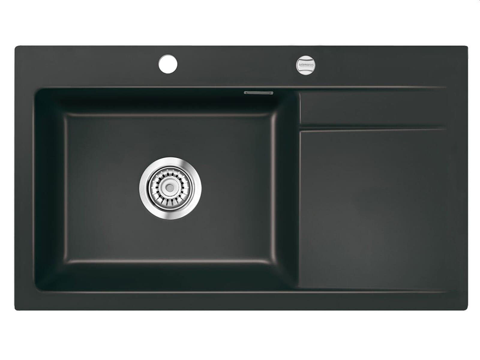 Systemceram Stema 86 SL Nigra Keramikspüle Excenterbetätigung