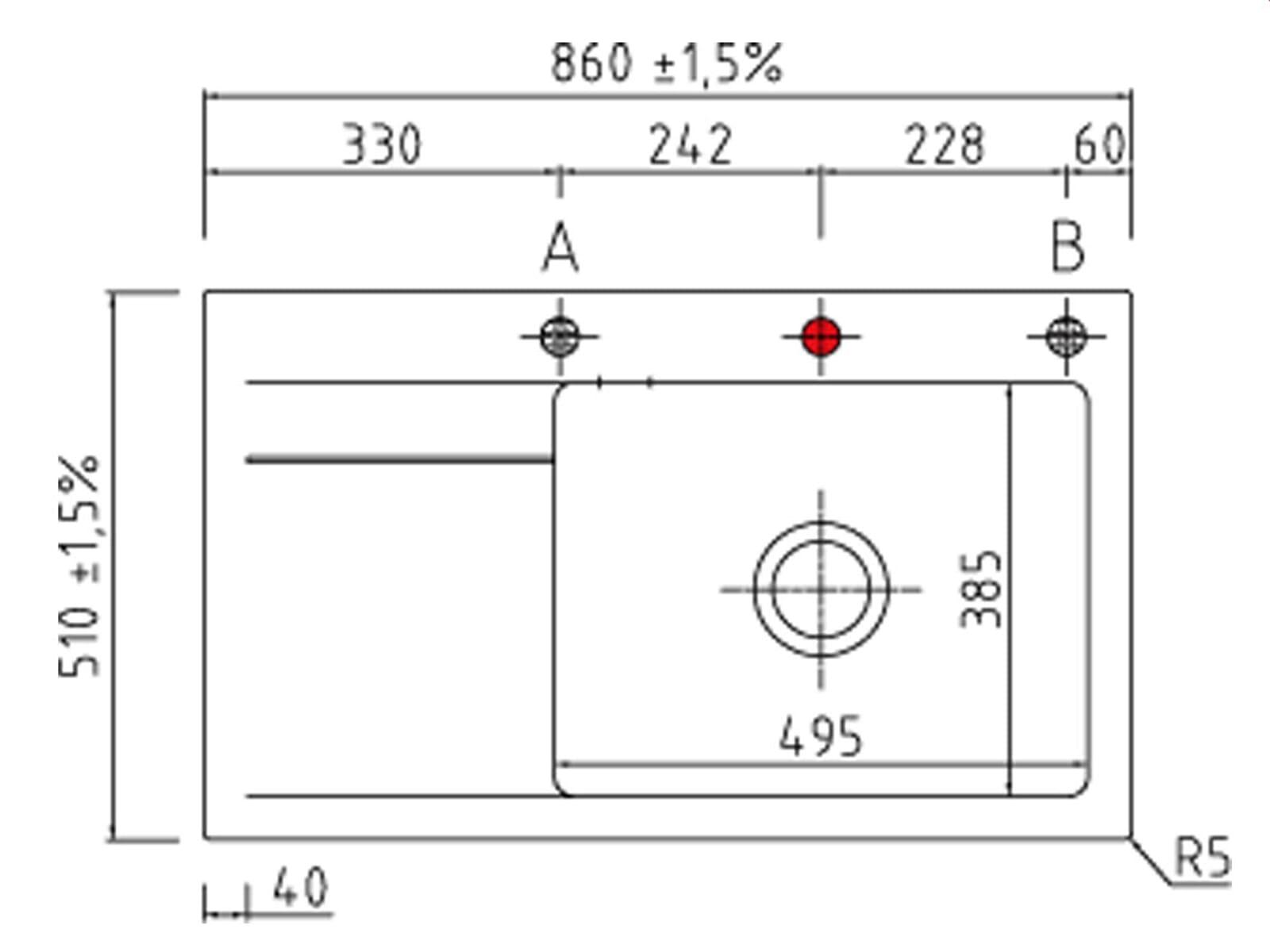 Systemceram Stema 86 SL Grönland Keramikspüle Excenterbetätigung