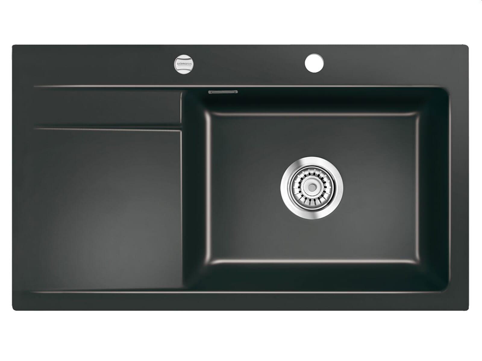 Systemceram Stema 86 SL Nero Keramikspüle Excenterbetätigung