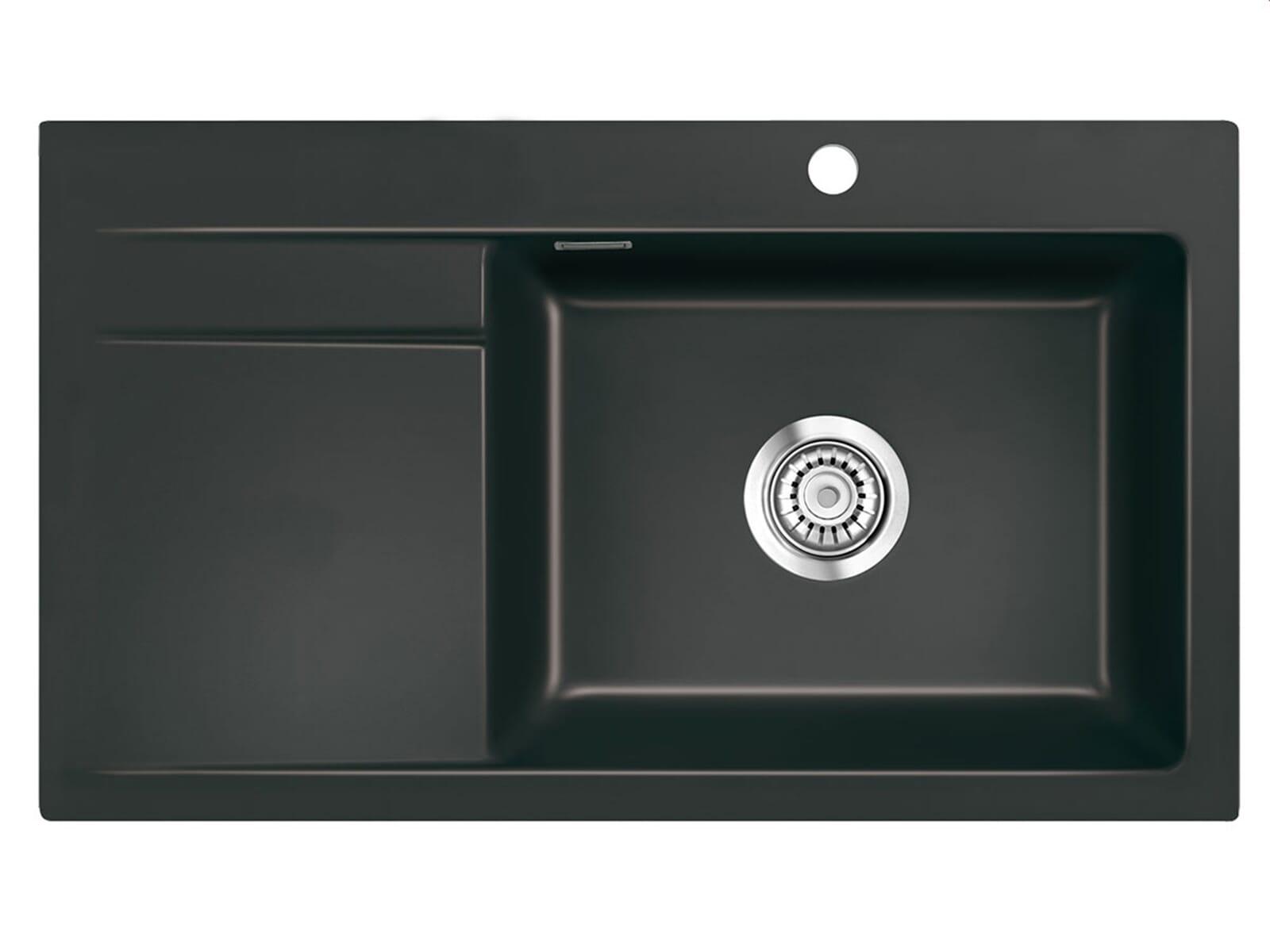 Systemceram Stema 86 SL Nigra Keramikspüle Handbetätigung