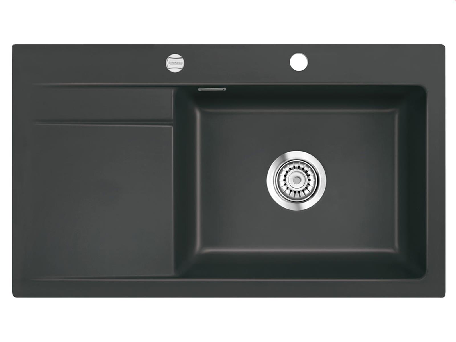 Systemceram Stema 86 SL Schiefer Keramikspüle Excenterbetätigung
